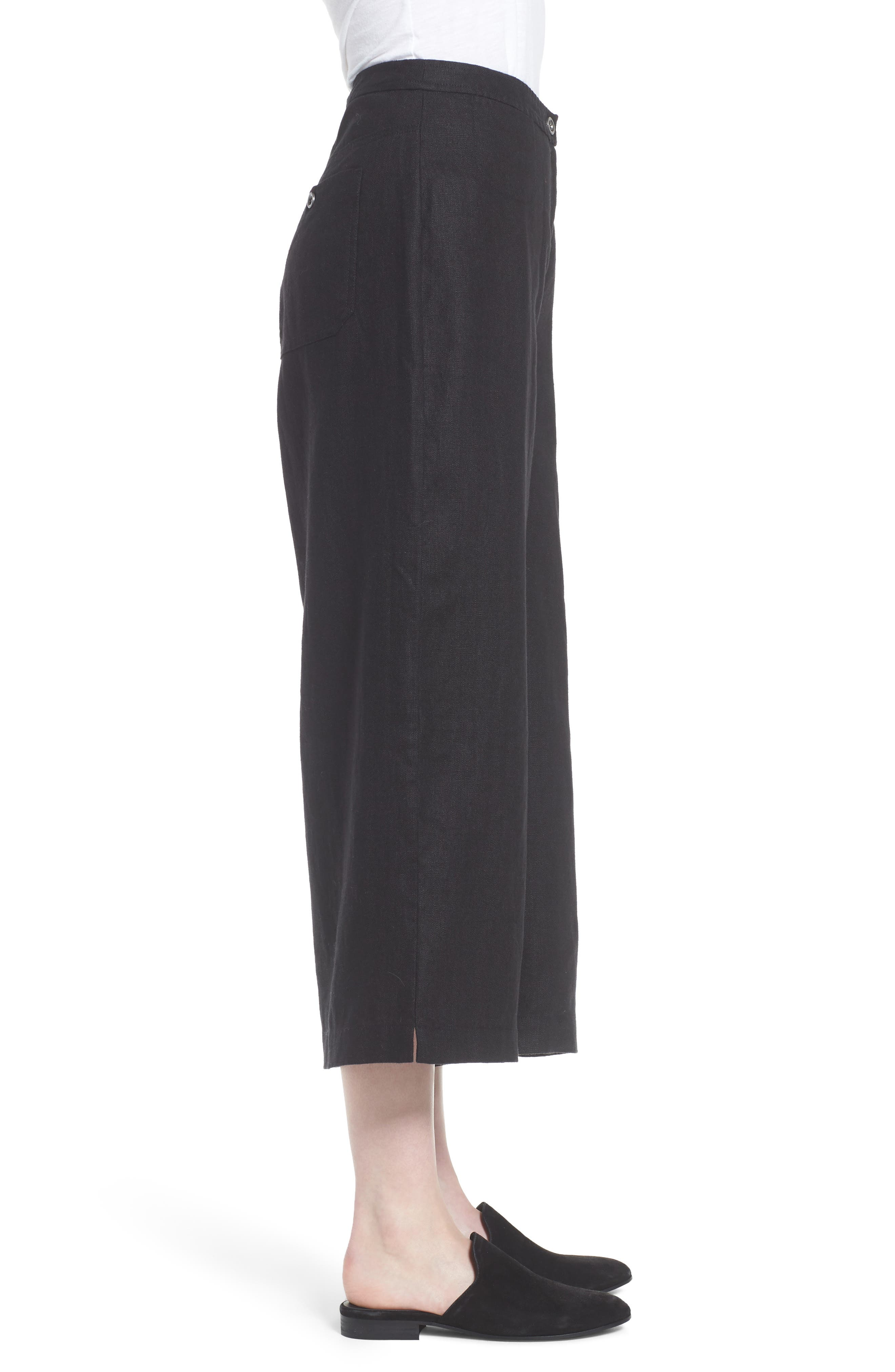 Wide Leg Organic Linen Pants,                             Alternate thumbnail 3, color,                             Black