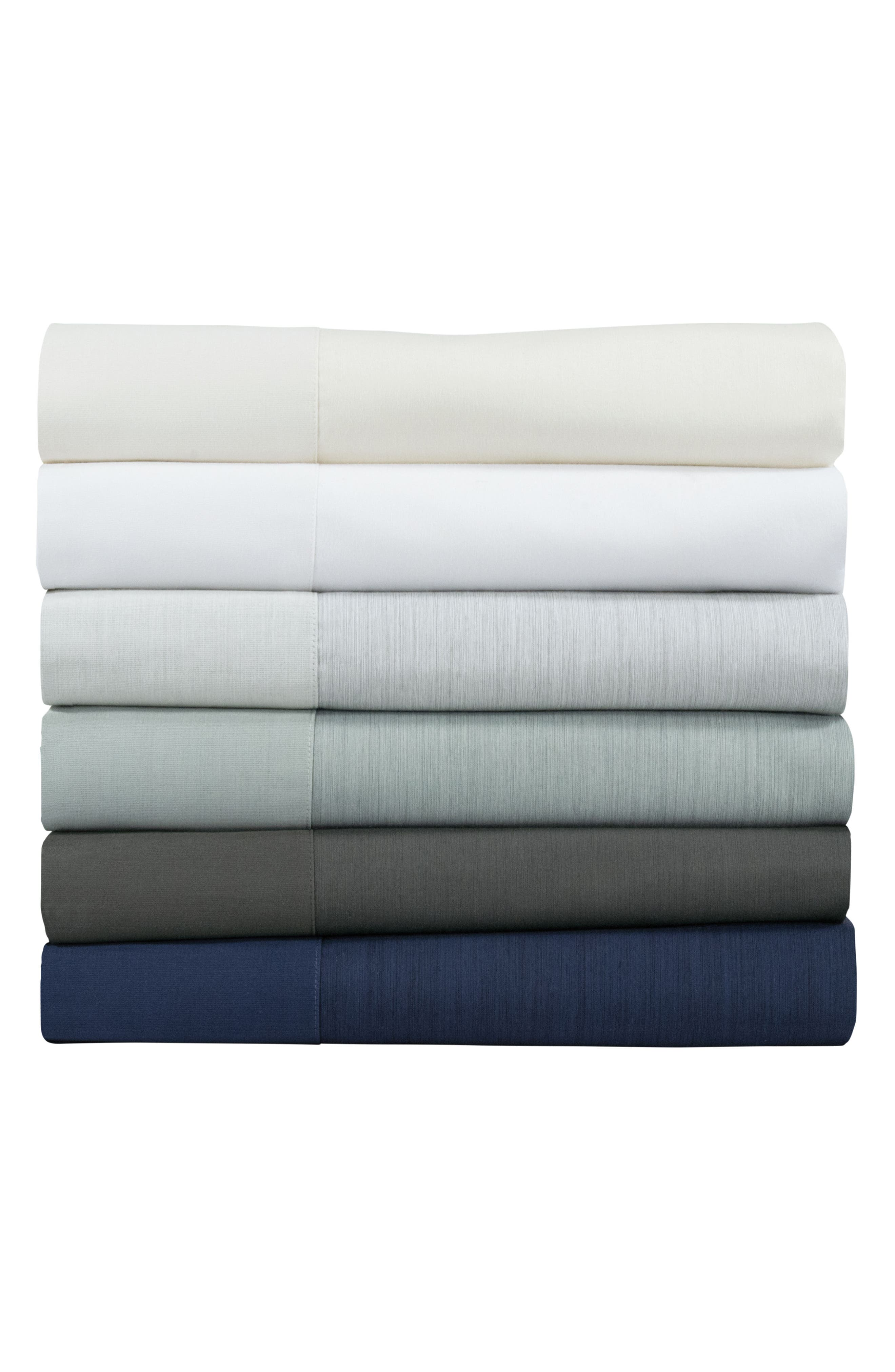 Striated Band 400 Thread Count Flat Sheet,                             Alternate thumbnail 2, color,                             Seafoam