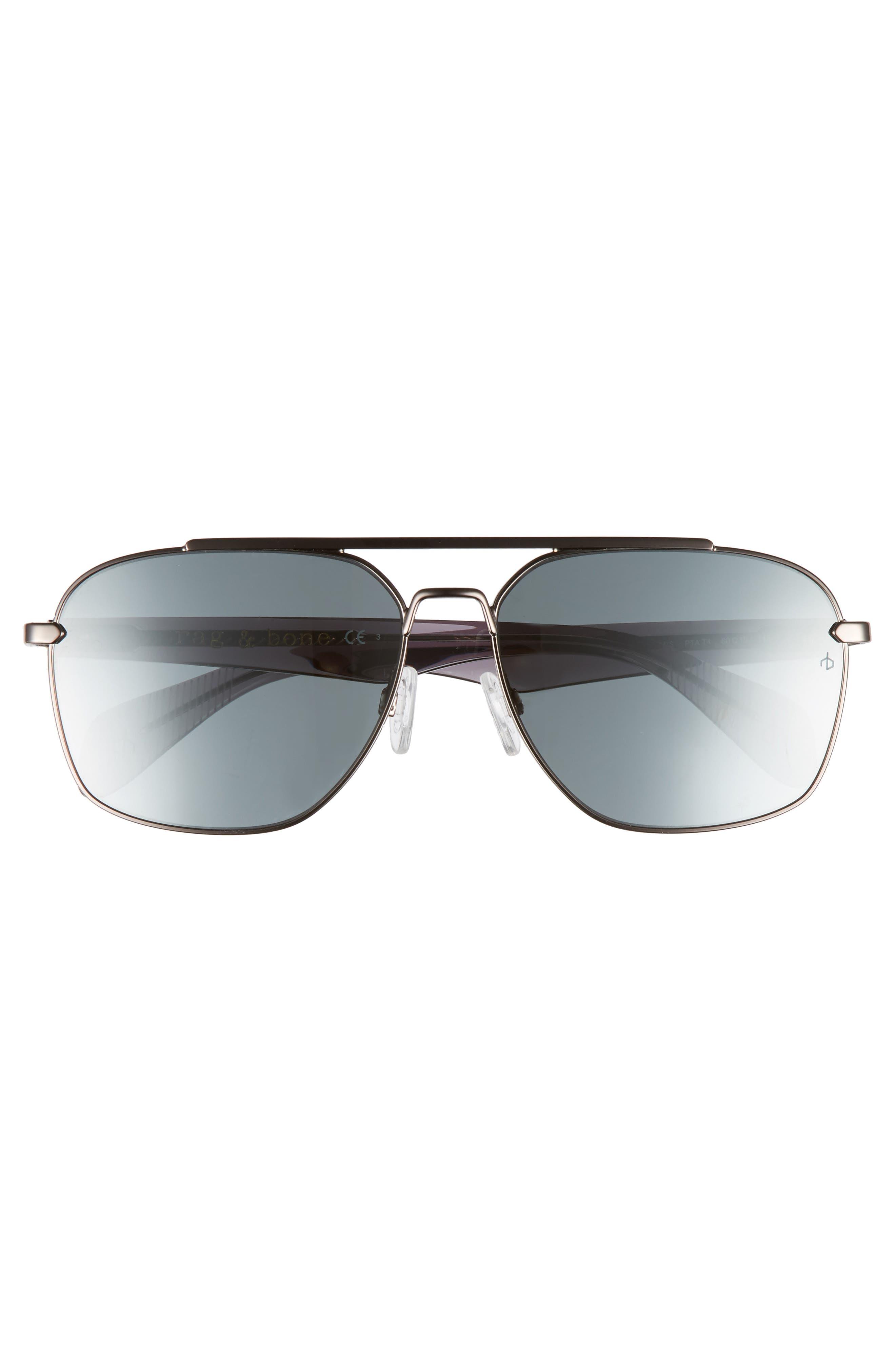 60mm Mirrored Navigator Sunglasses,                             Alternate thumbnail 2, color,                             Matte Ruthenium/ Grey