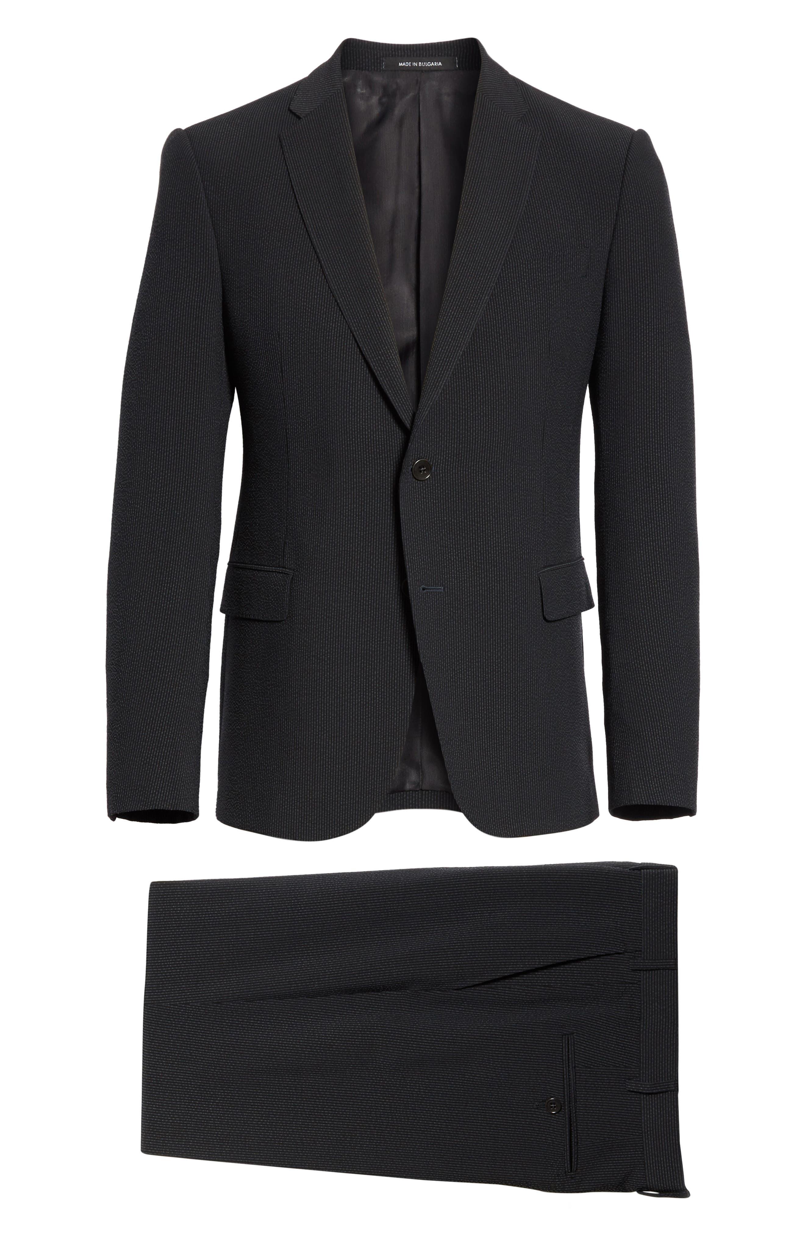 M Line Trim Fit Stretch Seersucker Wool Blend Suit,                             Alternate thumbnail 8, color,                             Grey