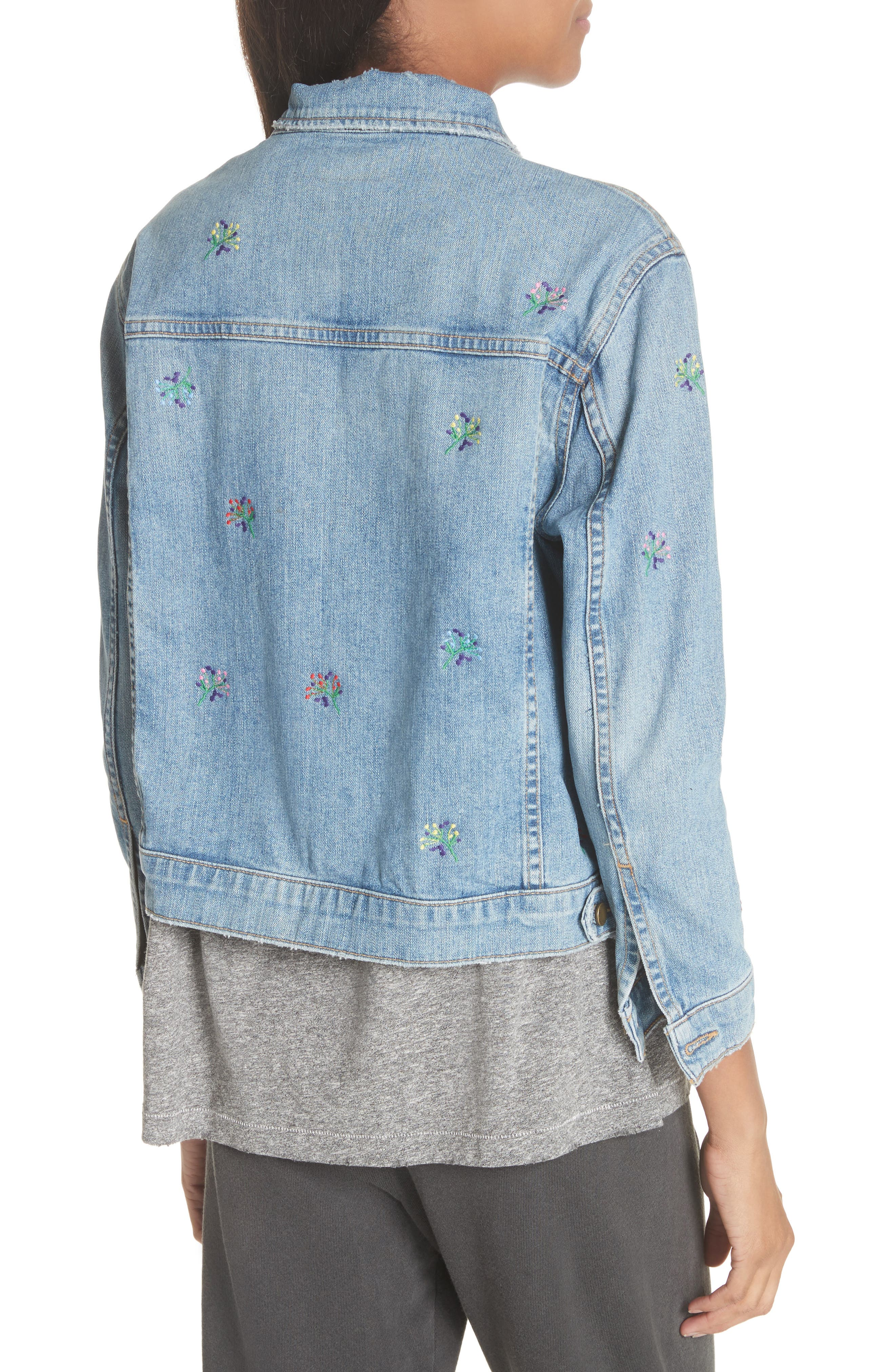 The Boxy Jean Jacket,                             Alternate thumbnail 2, color,                             Canteen Wash W/ Flower Emb
