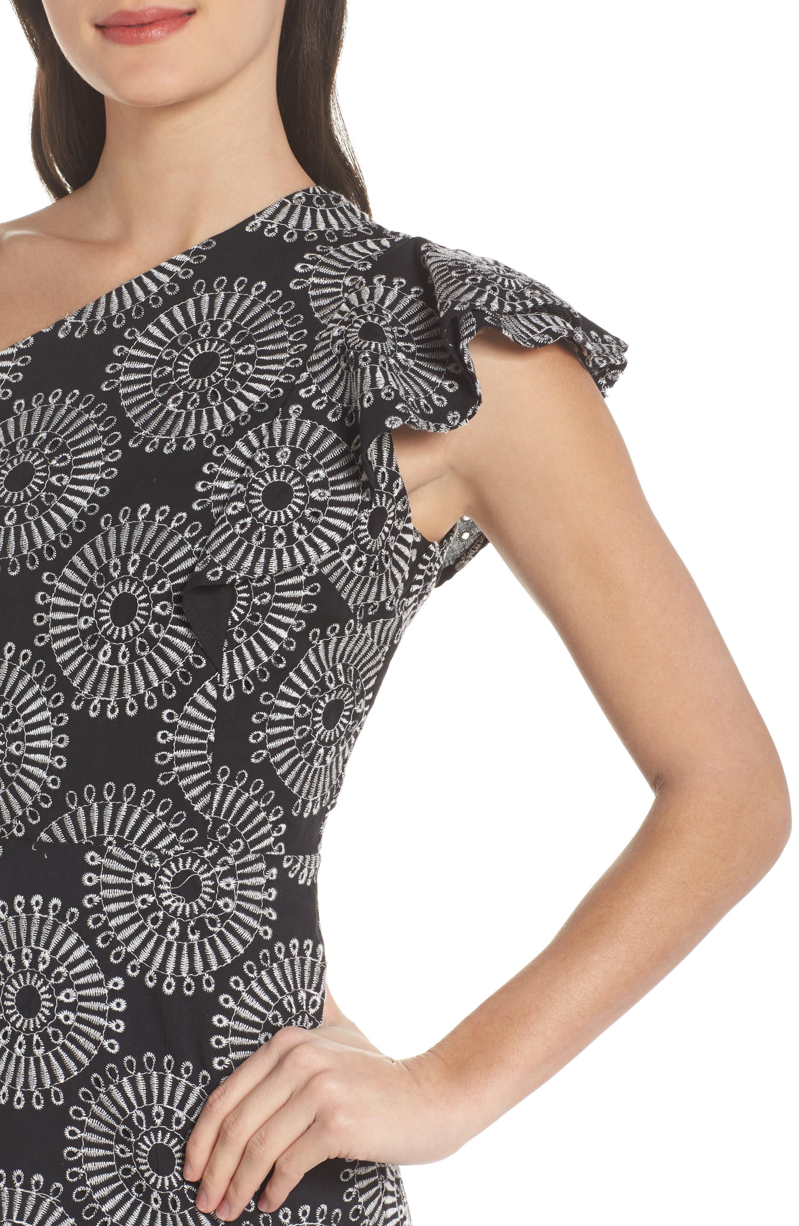 Embroidered One-Shoulder Sheath Dress,                             Alternate thumbnail 4, color,                             Black/ White