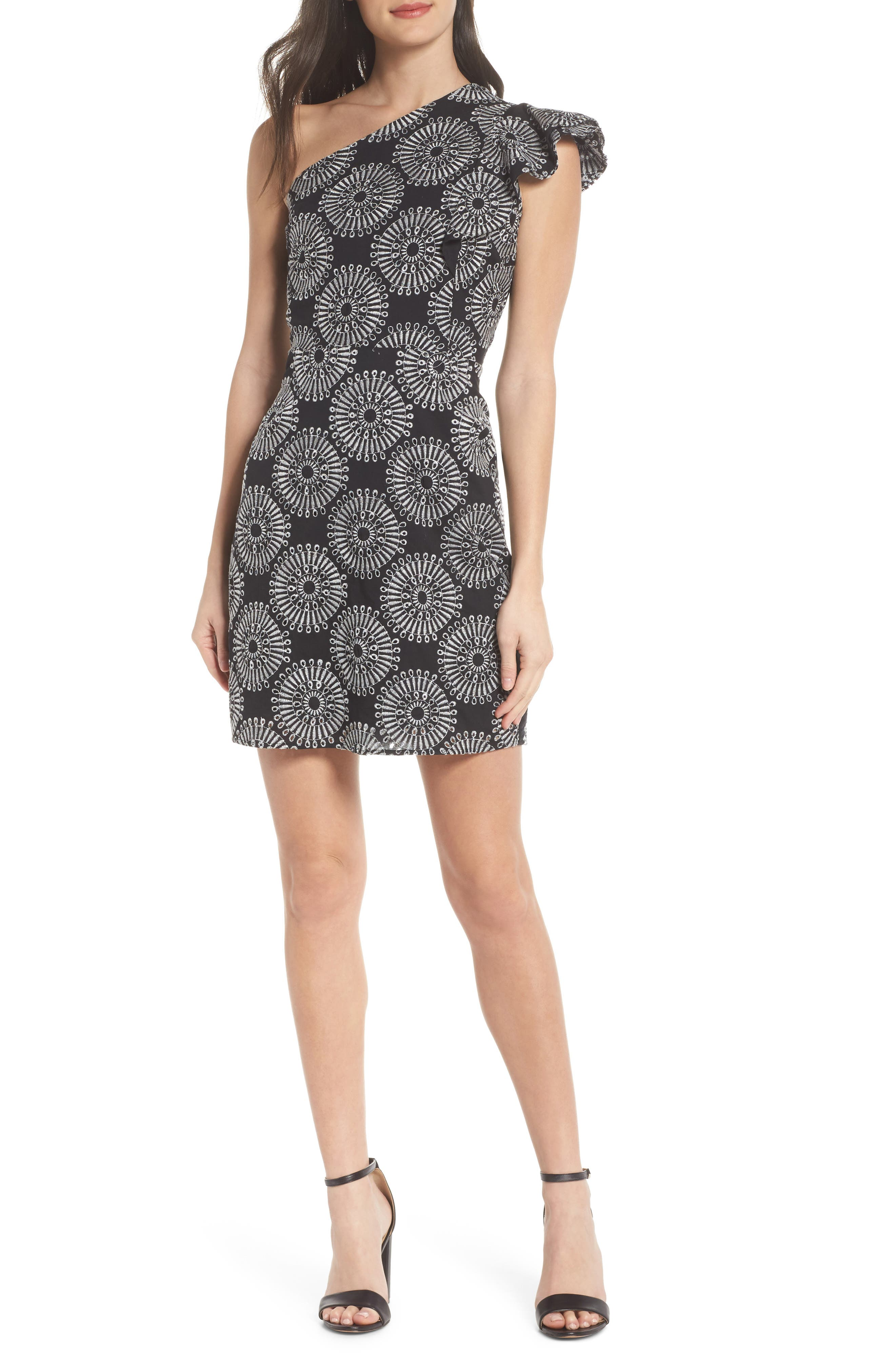 Embroidered One-Shoulder Sheath Dress,                         Main,                         color, Black/ White