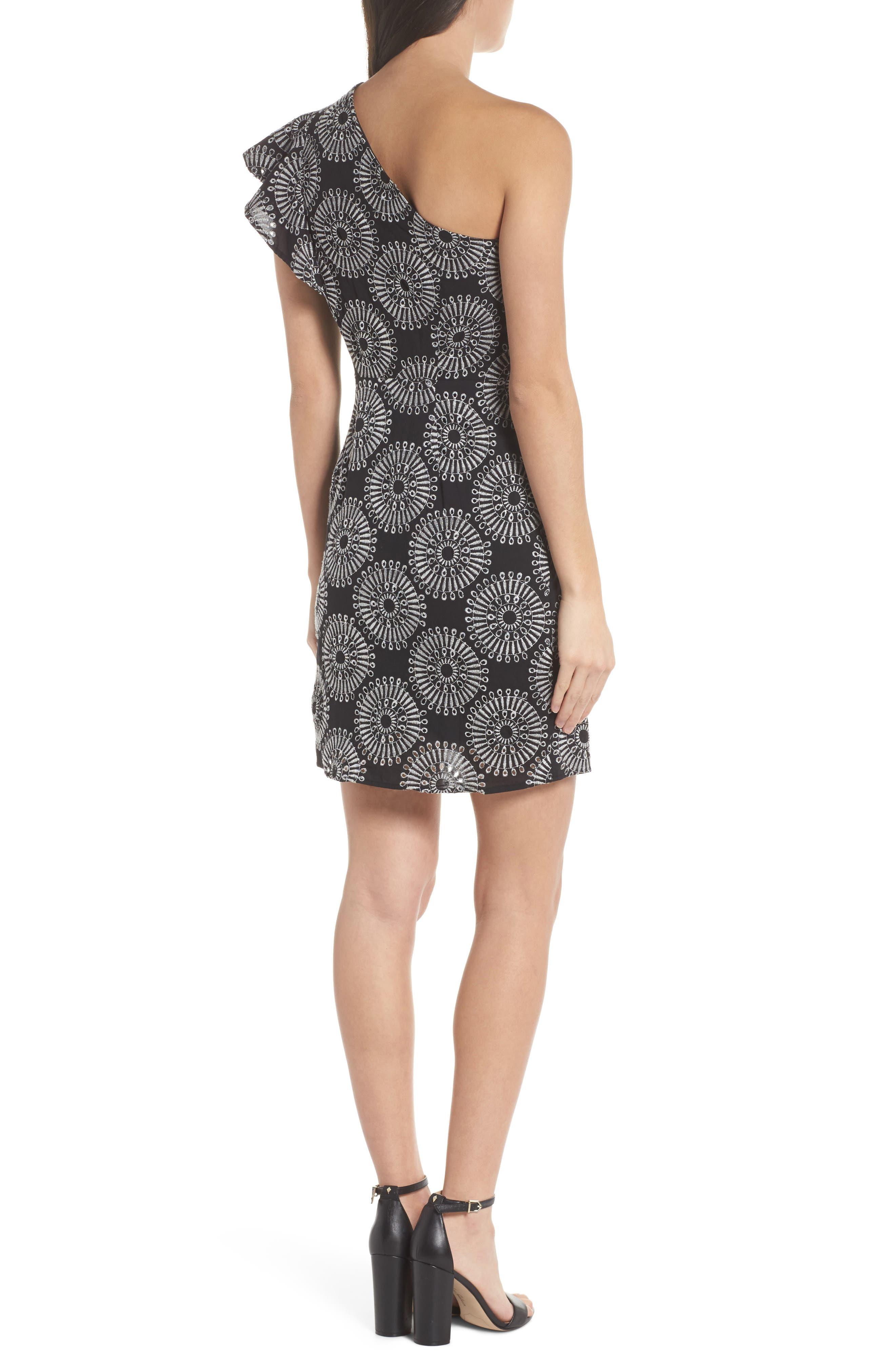 Embroidered One-Shoulder Sheath Dress,                             Alternate thumbnail 2, color,                             Black/ White