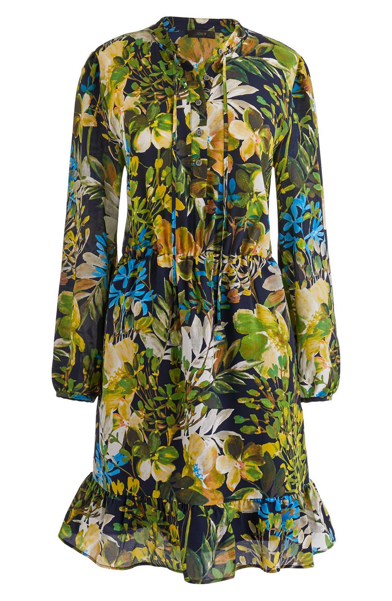 Watercolor Floral Silk Dress,                             Main thumbnail 1, color,                             Navy Floral