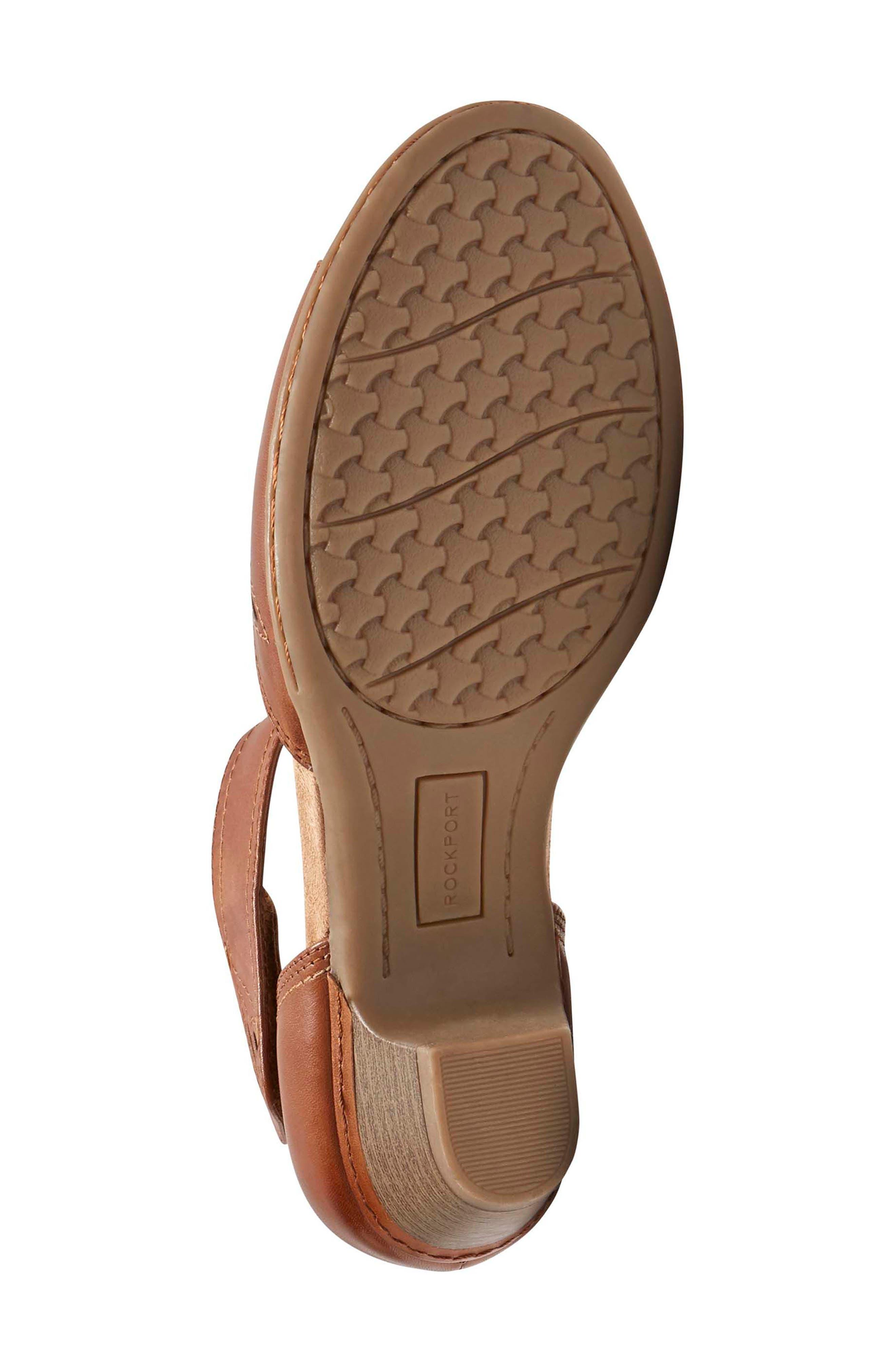Abbott Perforated Sandal,                             Alternate thumbnail 6, color,                             Tan Leather