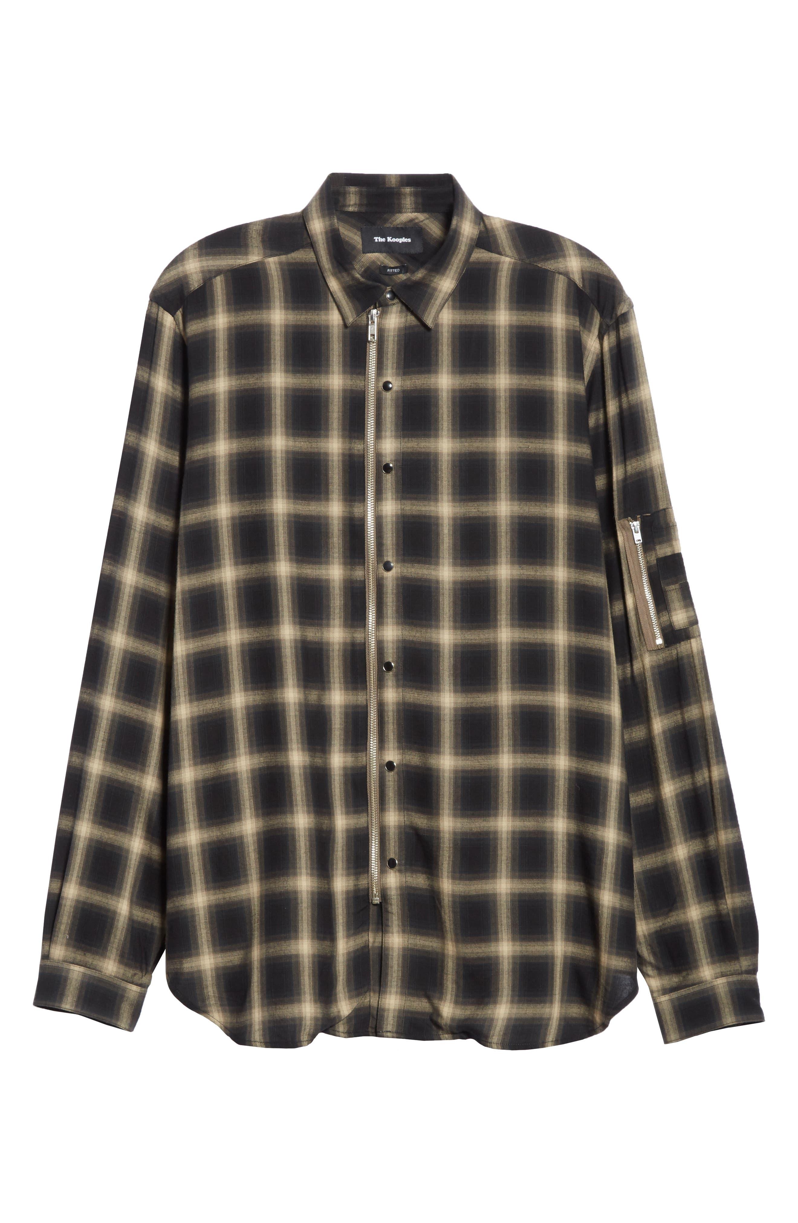 Check Woven Shirt,                             Alternate thumbnail 6, color,                             Grey