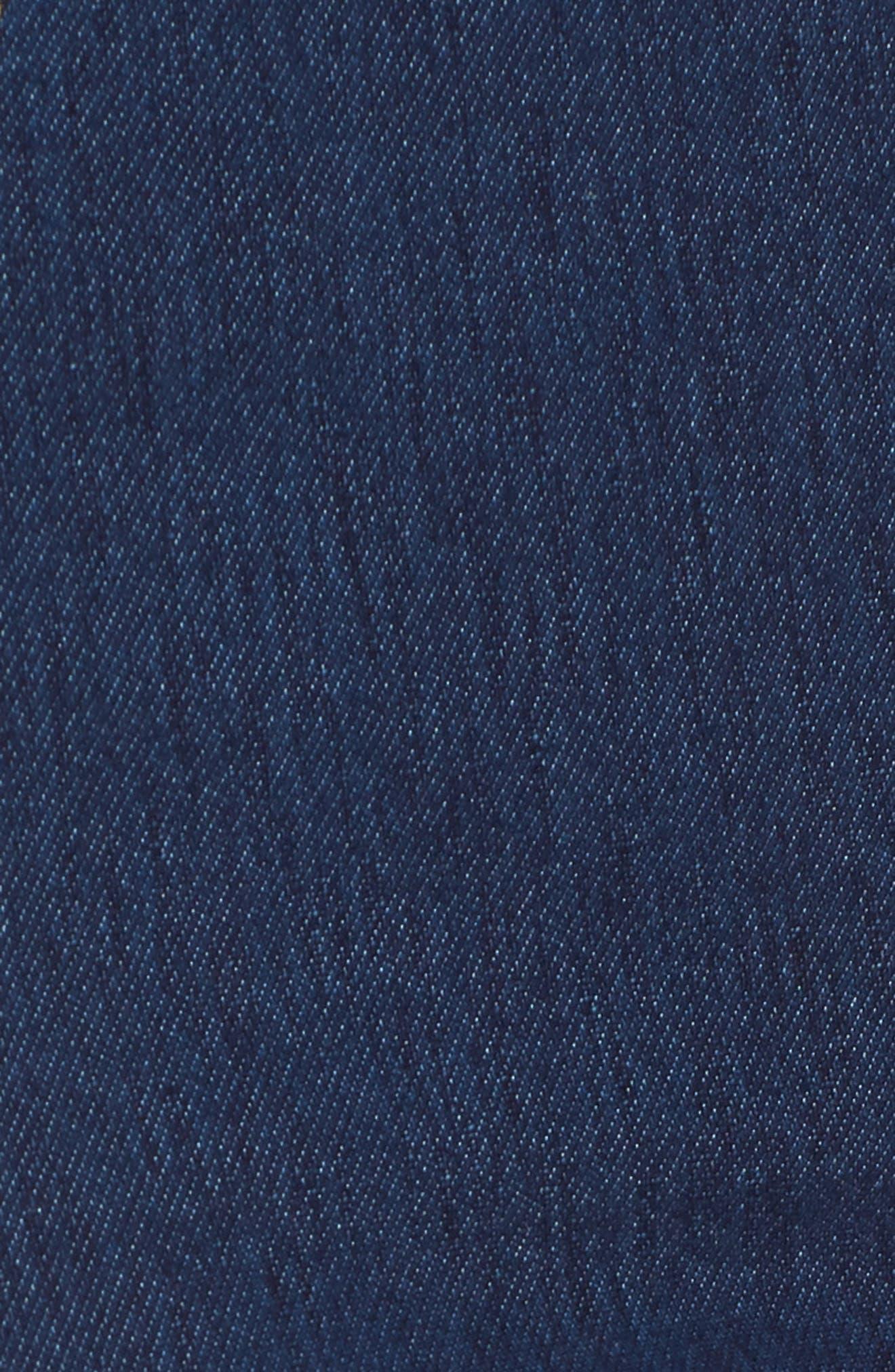 Basic High Waist Denim Leggings,                             Alternate thumbnail 5, color,                             Navy Indigo Dark Wash