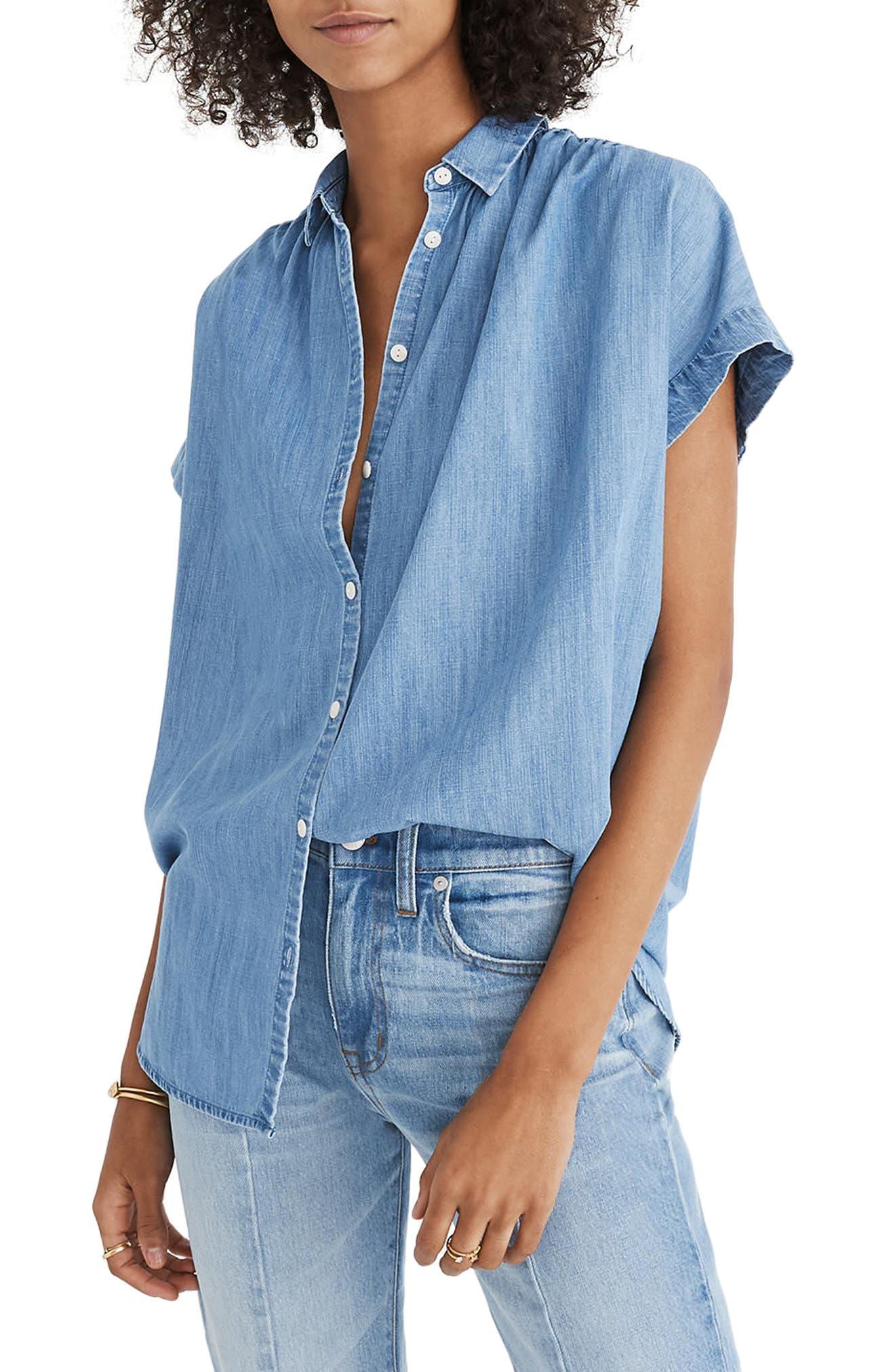 Central Chambray Shirt,                         Main,                         color, Roberta Wash