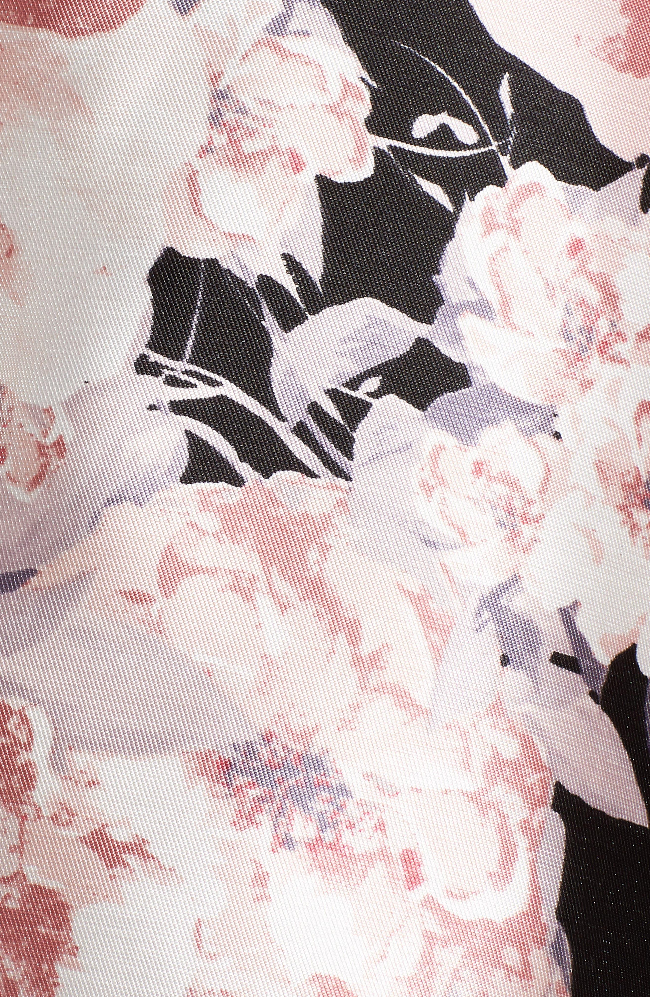 Mikado Skater Dress,                             Alternate thumbnail 5, color,                             Black/ Blush