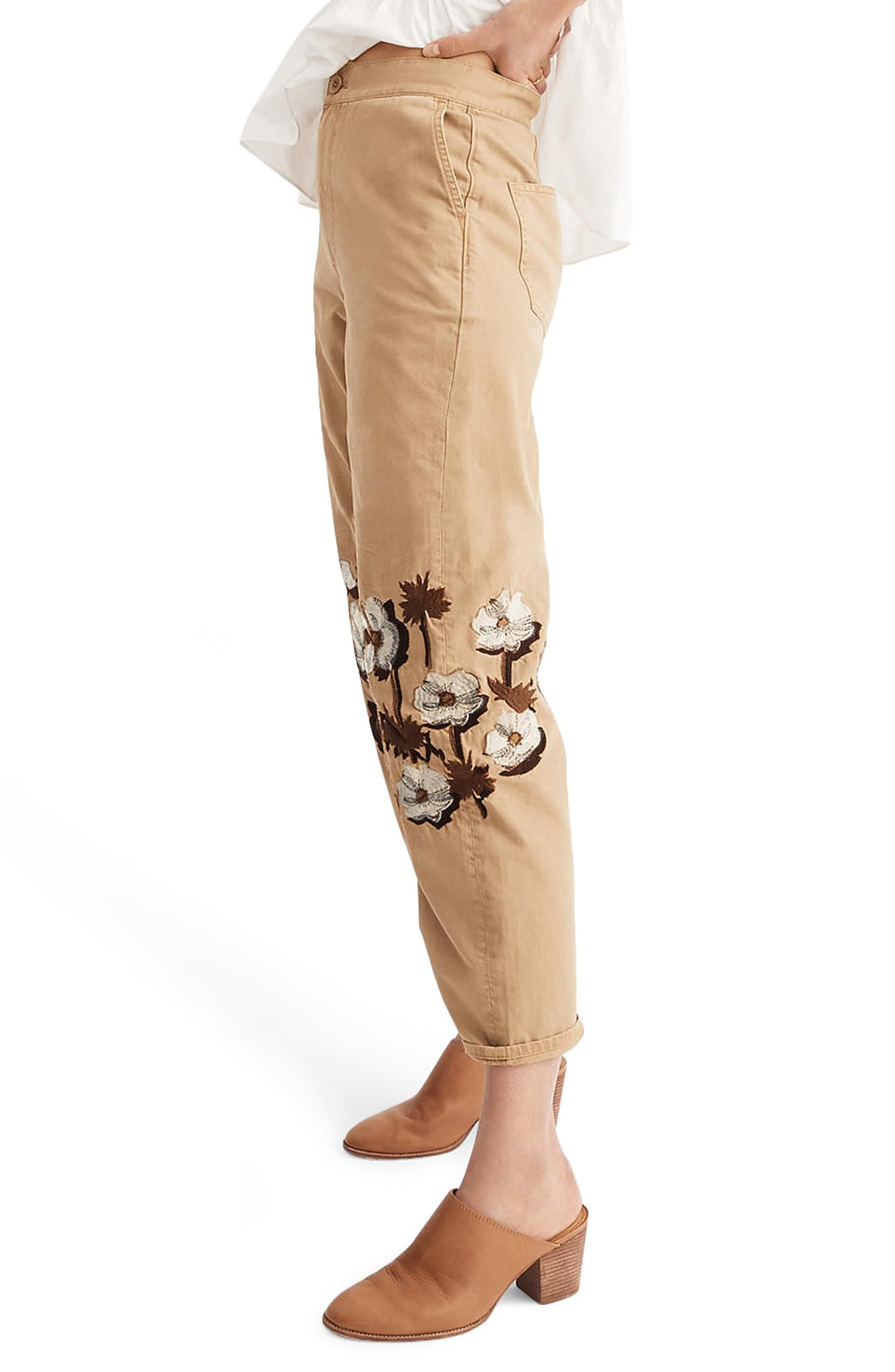Embroidered Tapered Crop Pants,                             Alternate thumbnail 3, color,                             Honey Brown