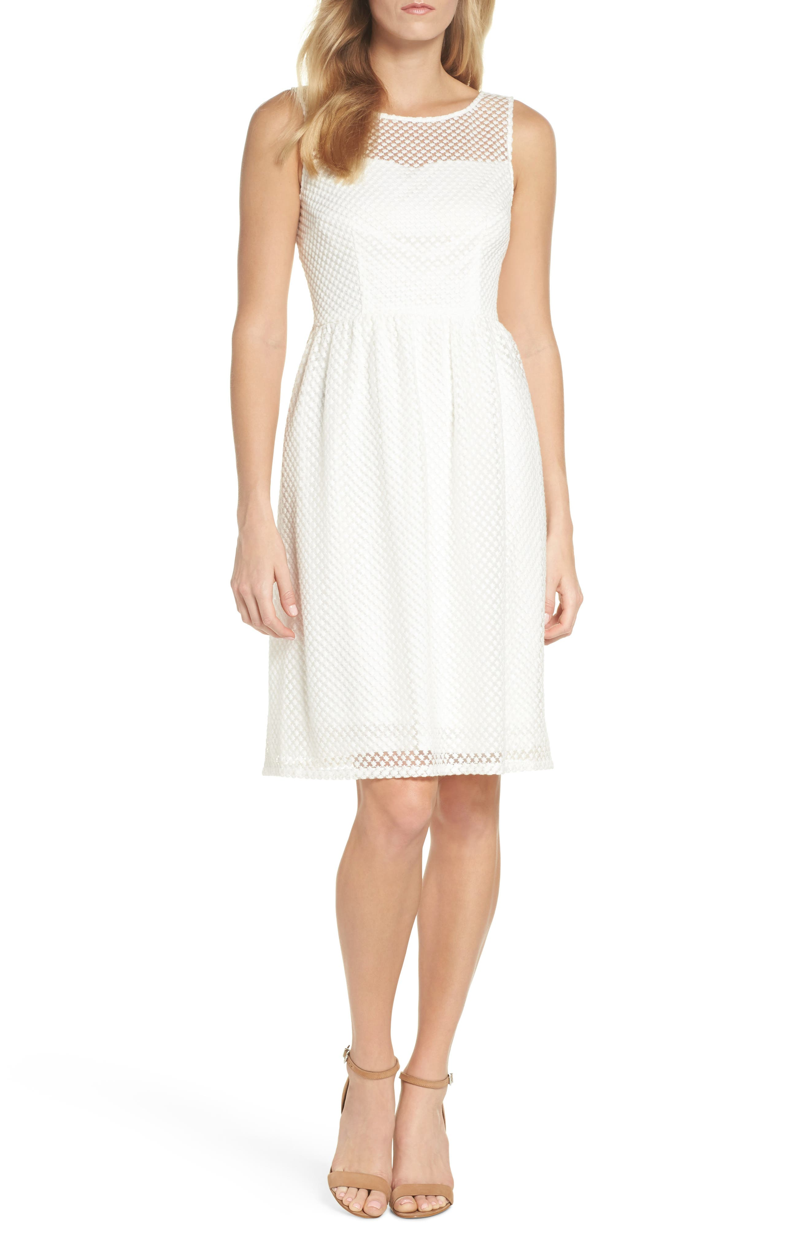 Embroidered Diamonds Fit & Flare Dress,                             Main thumbnail 1, color,                             Ivory