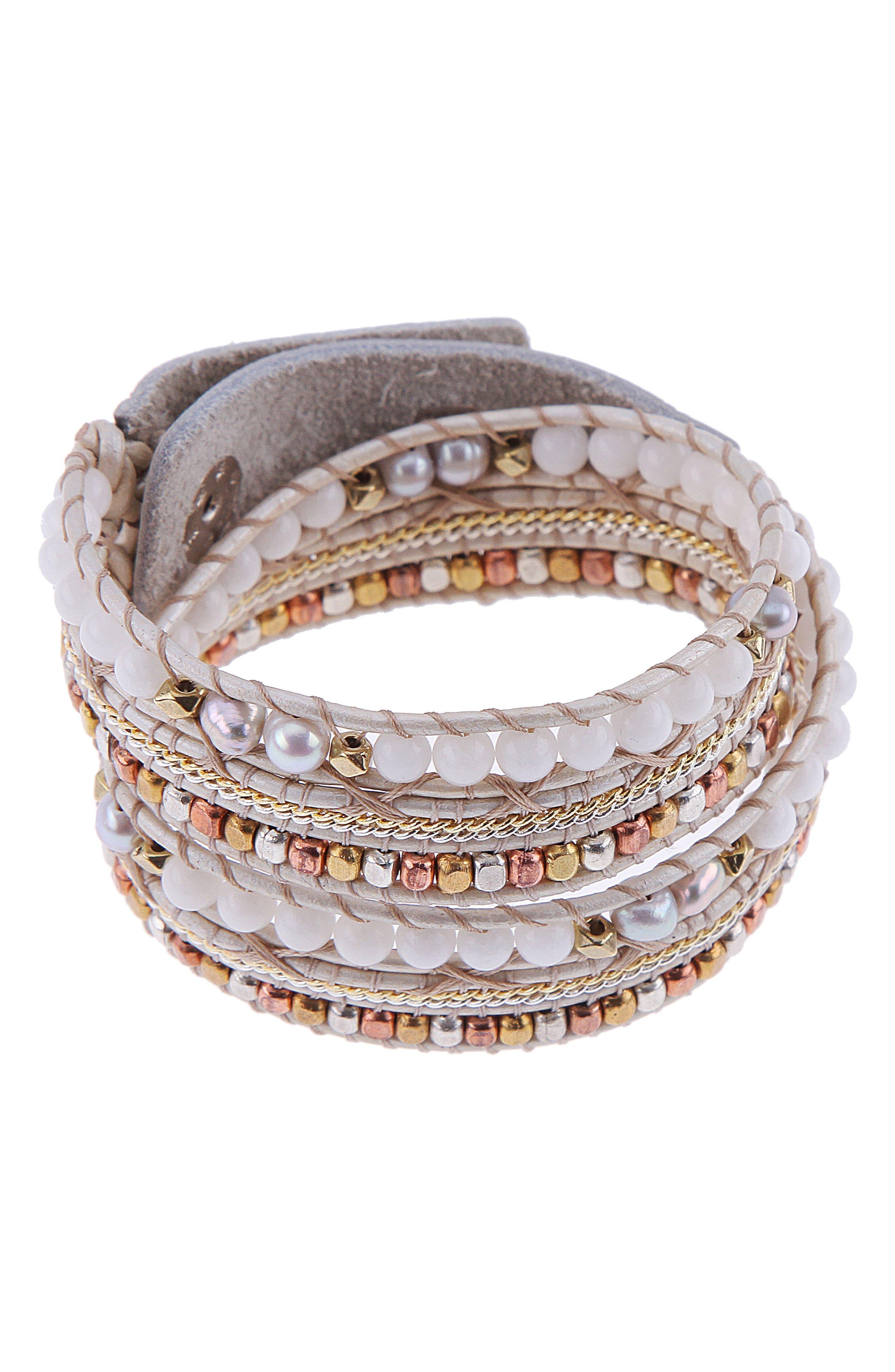 Stone & Metal Wrap Bracelet,                         Main,                         color, Peach