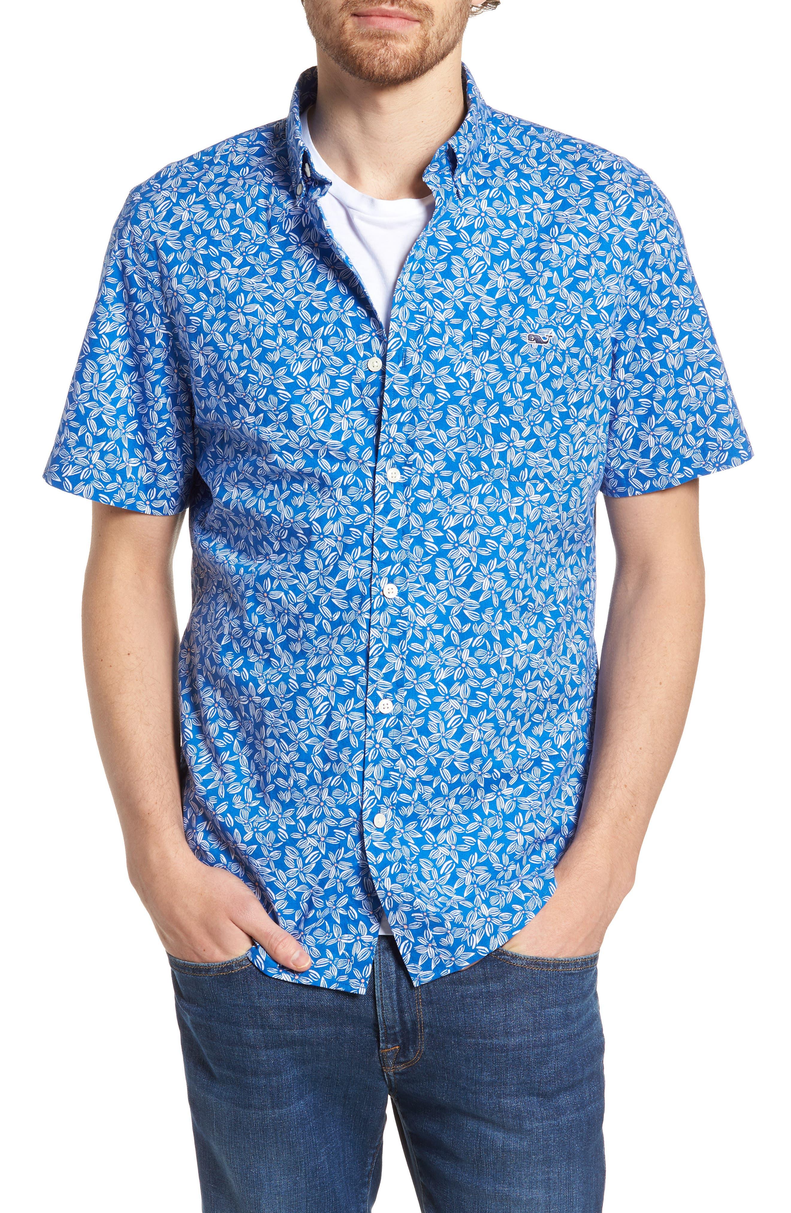 Linear Floral Slim Fit Print Short Sleeve Sport Shirt,                         Main,                         color, Spinnaker