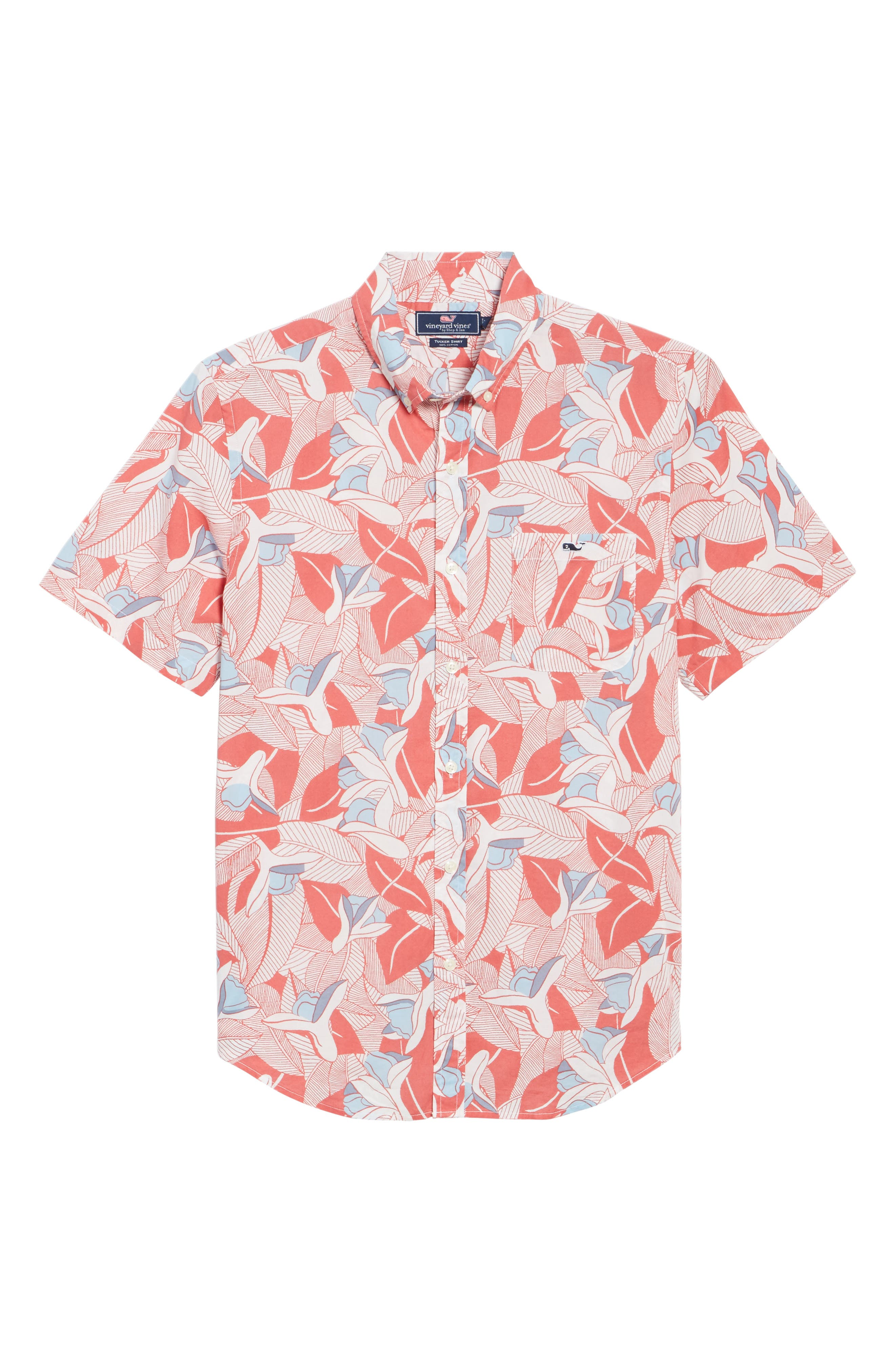 Flowers & Leaves Classic Fit Print Short Sleeve Sport Shirt,                             Alternate thumbnail 6, color,                             Jetty Red