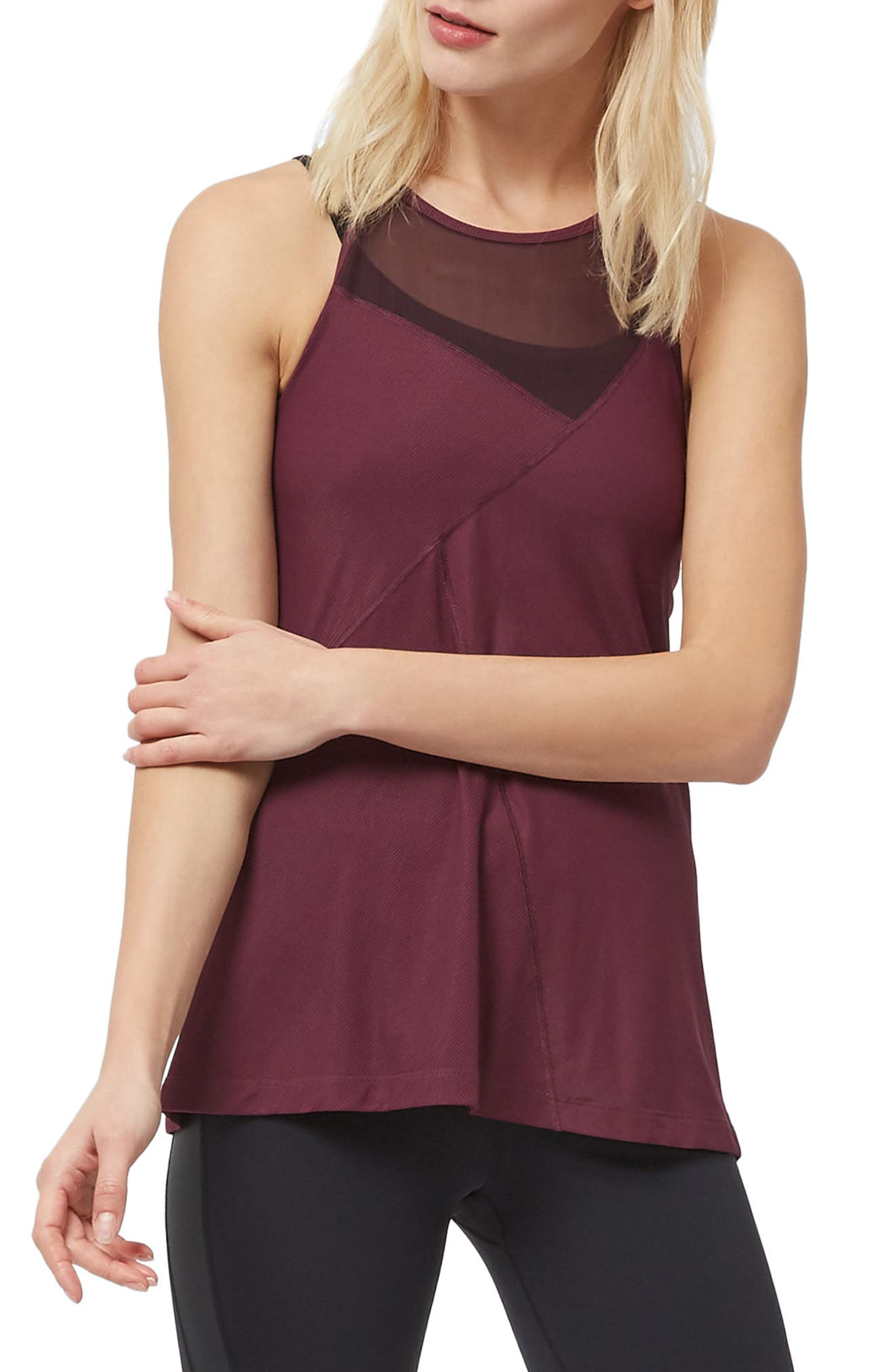 Chakra Ribbed Tank,                         Main,                         color, Oxblood