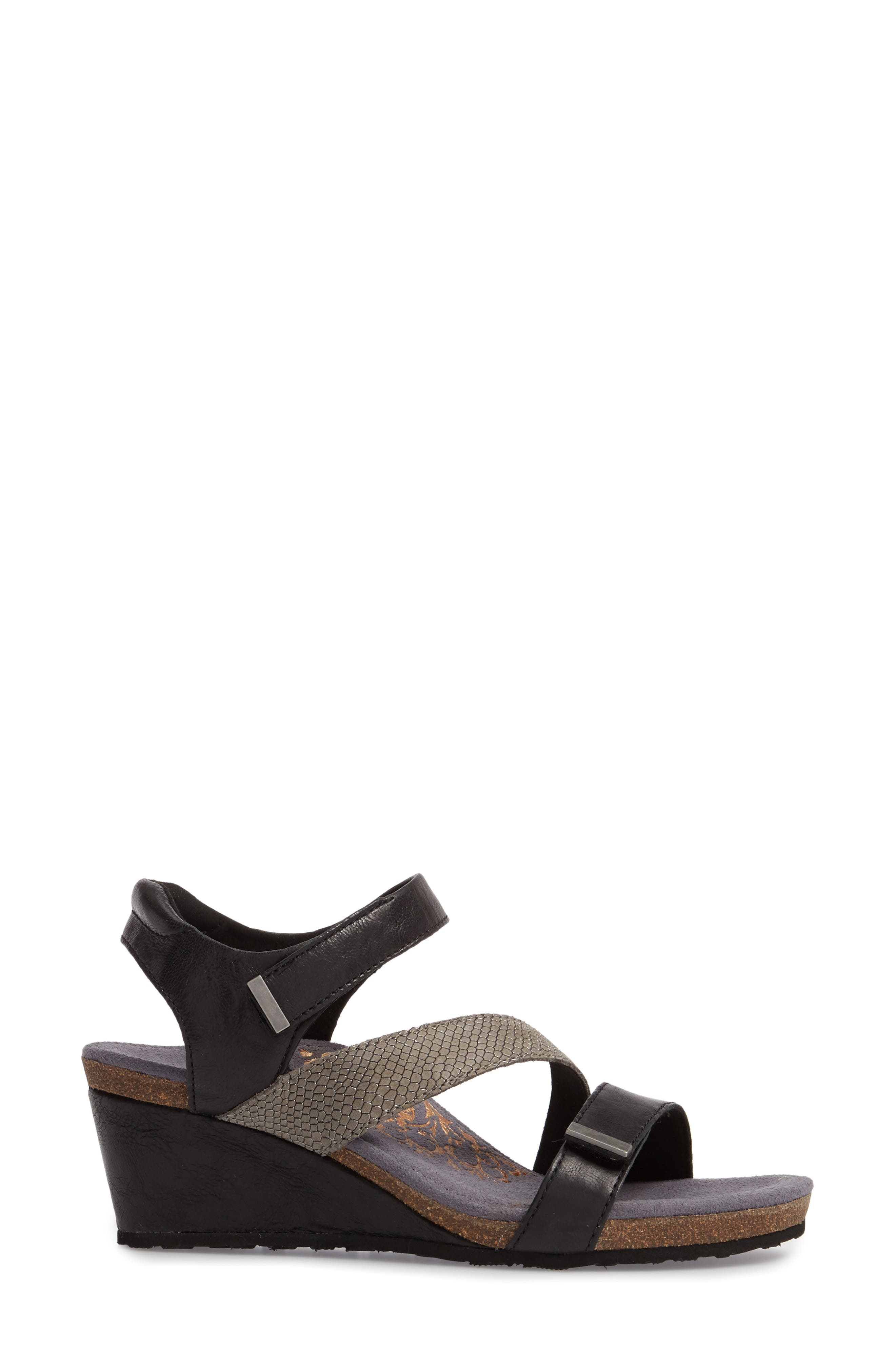 Brynn Asymmetrical Wedge Sandal,                             Alternate thumbnail 3, color,                             Black Leather