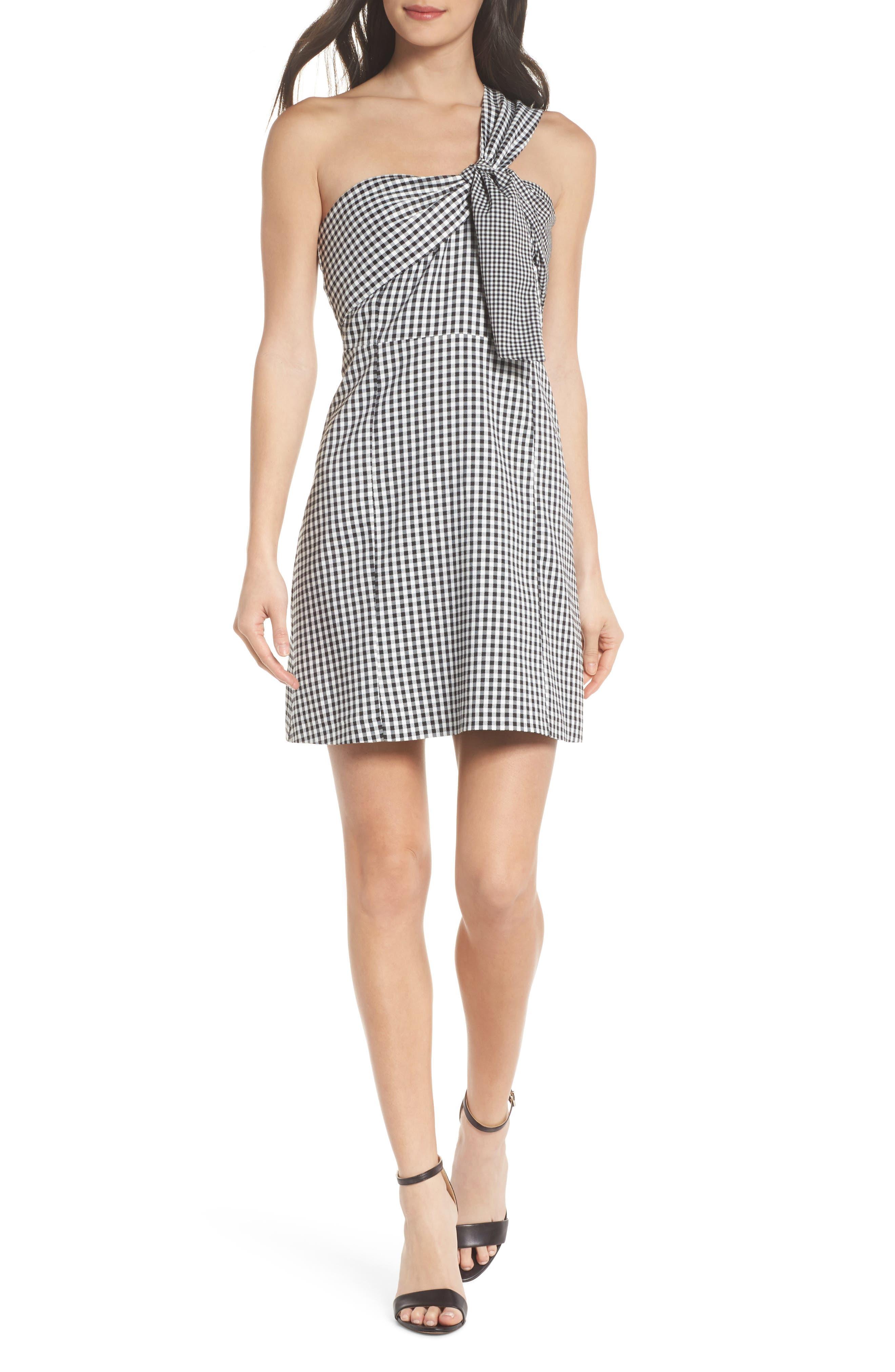One-Shoulder Gingham Dress,                         Main,                         color, Black/ White
