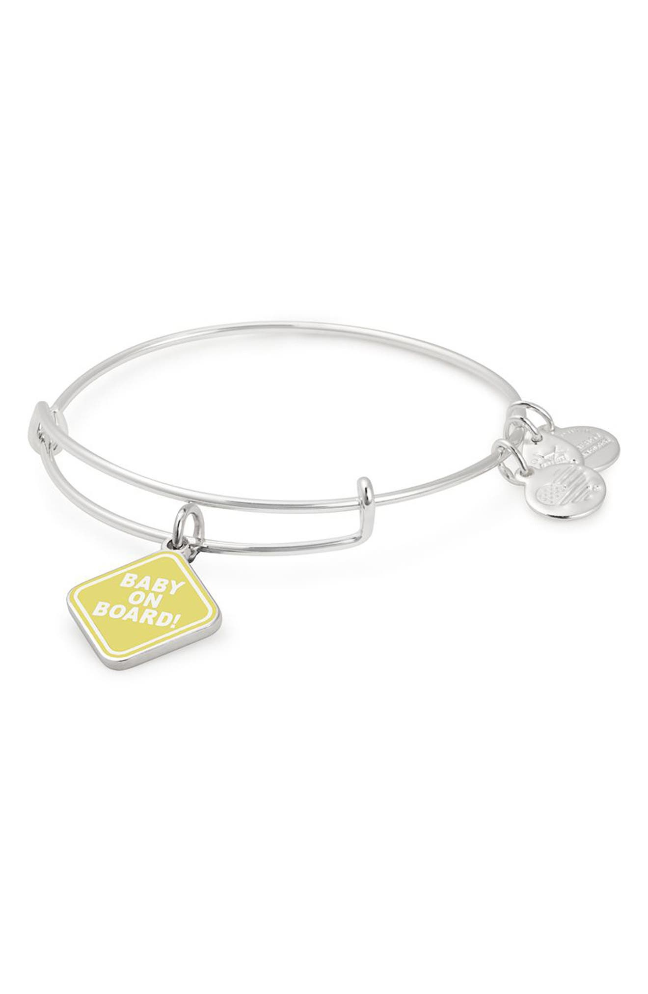 ALEX AND ANI Baby On Board Charm Bangle in Silver