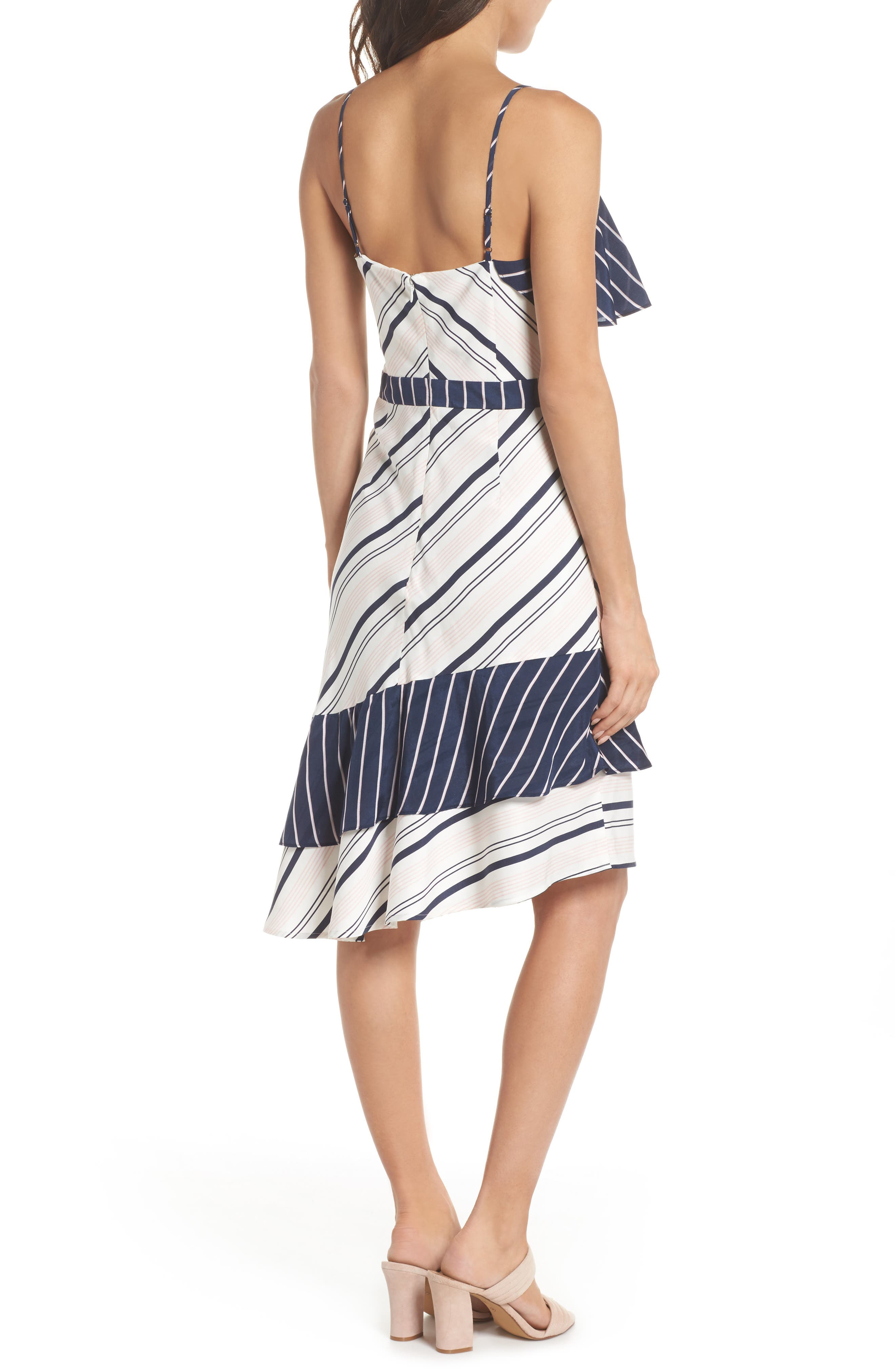 Mix Stripe Asymmetrical Dress,                             Alternate thumbnail 2, color,                             White/ Navy Miranda Stripe