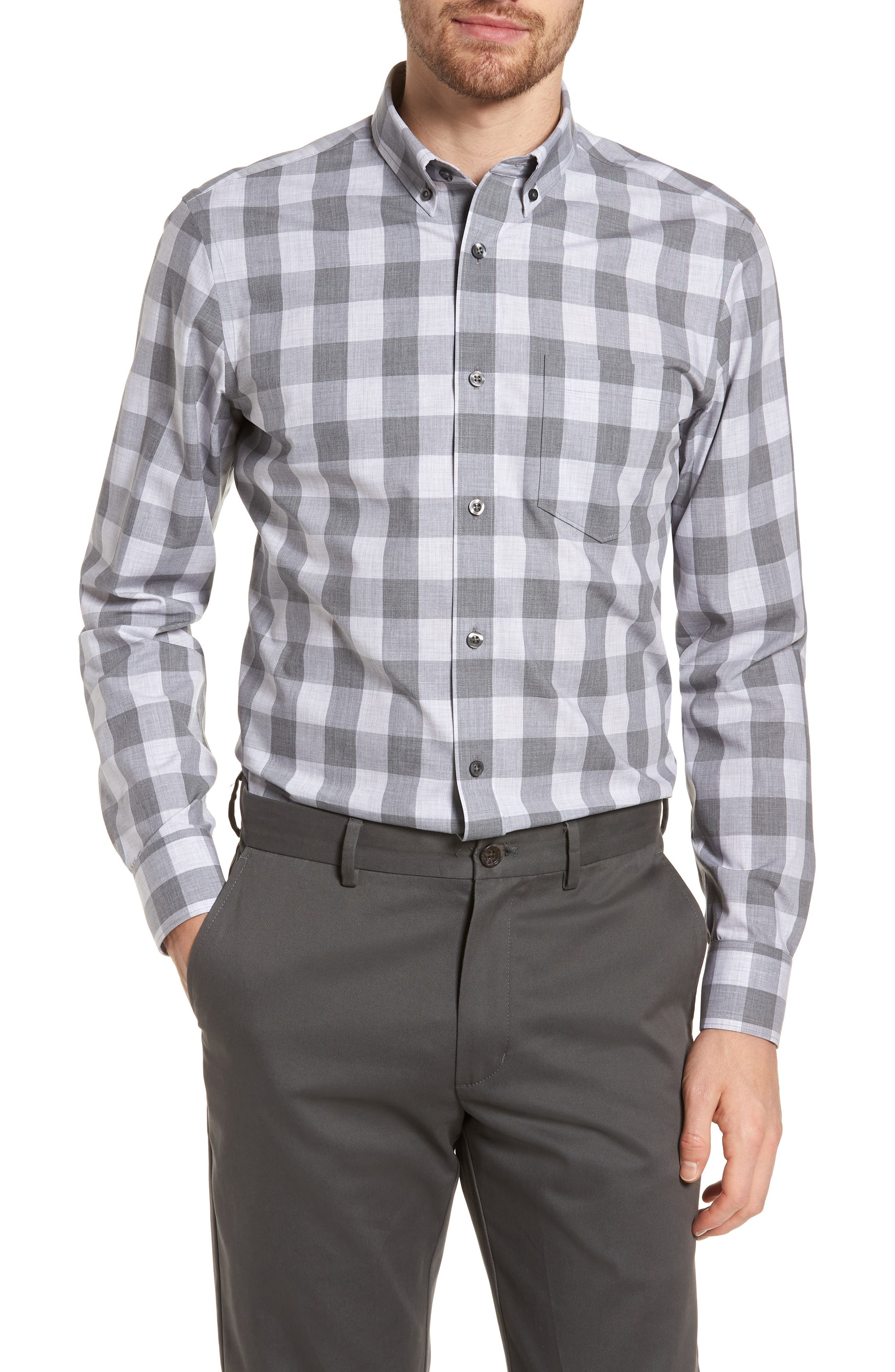Trim Fit Check Sport Shirt,                         Main,                         color, Grey Shade Buffalo
