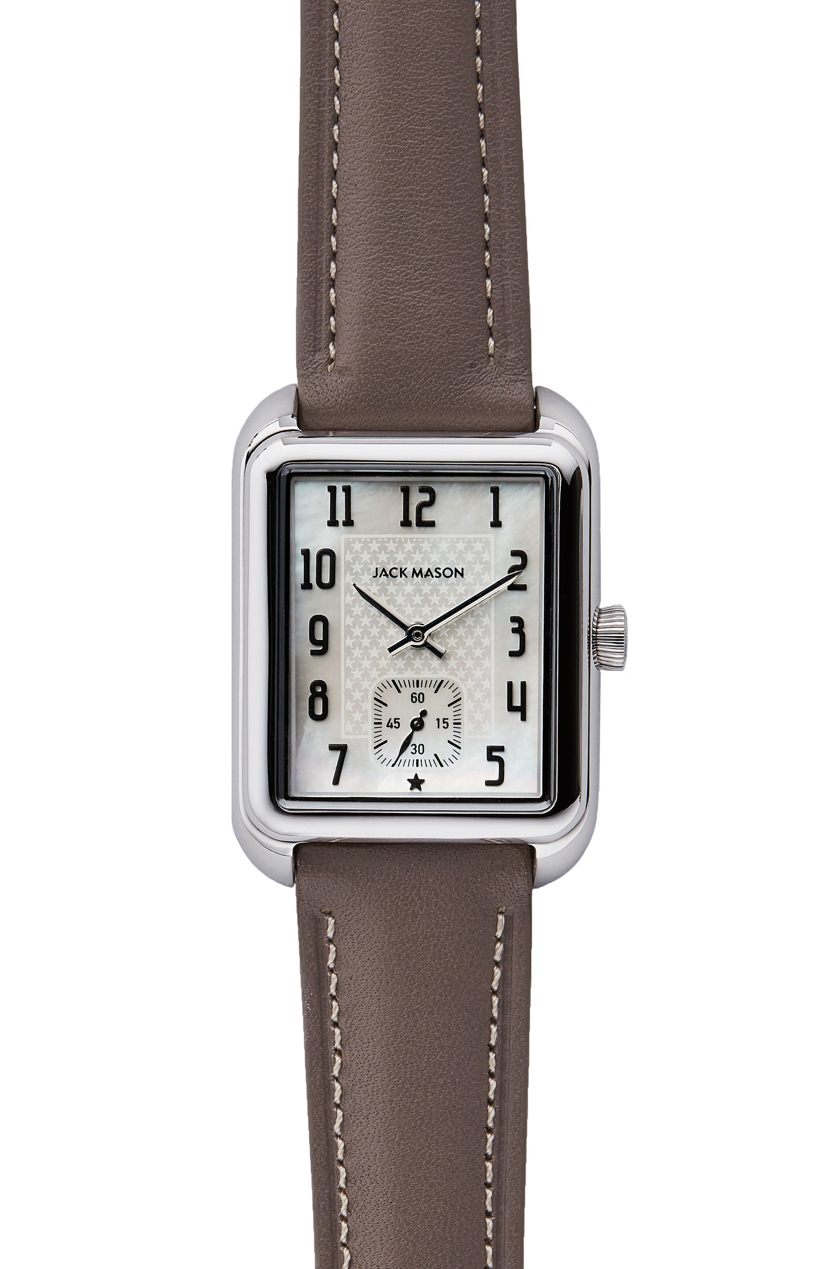Issue No. 2 Leather Strap Watch, 34mm x 28mm,                             Main thumbnail 1, color,                             Taupe/ Mop/ Silver