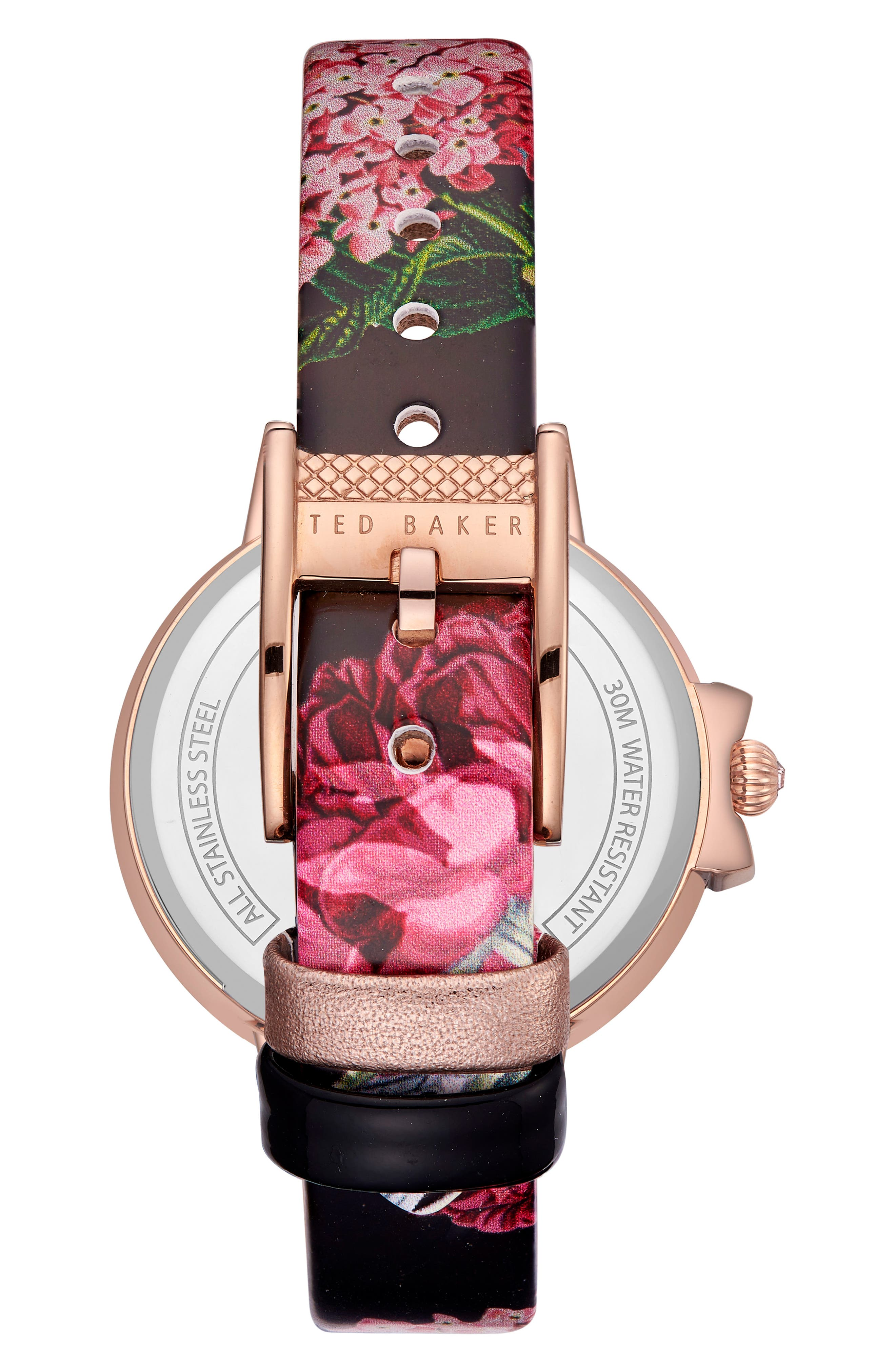 Leather Strap Watch, 36mm,                             Alternate thumbnail 2, color,                             Printed/ Black/ Rose Gold