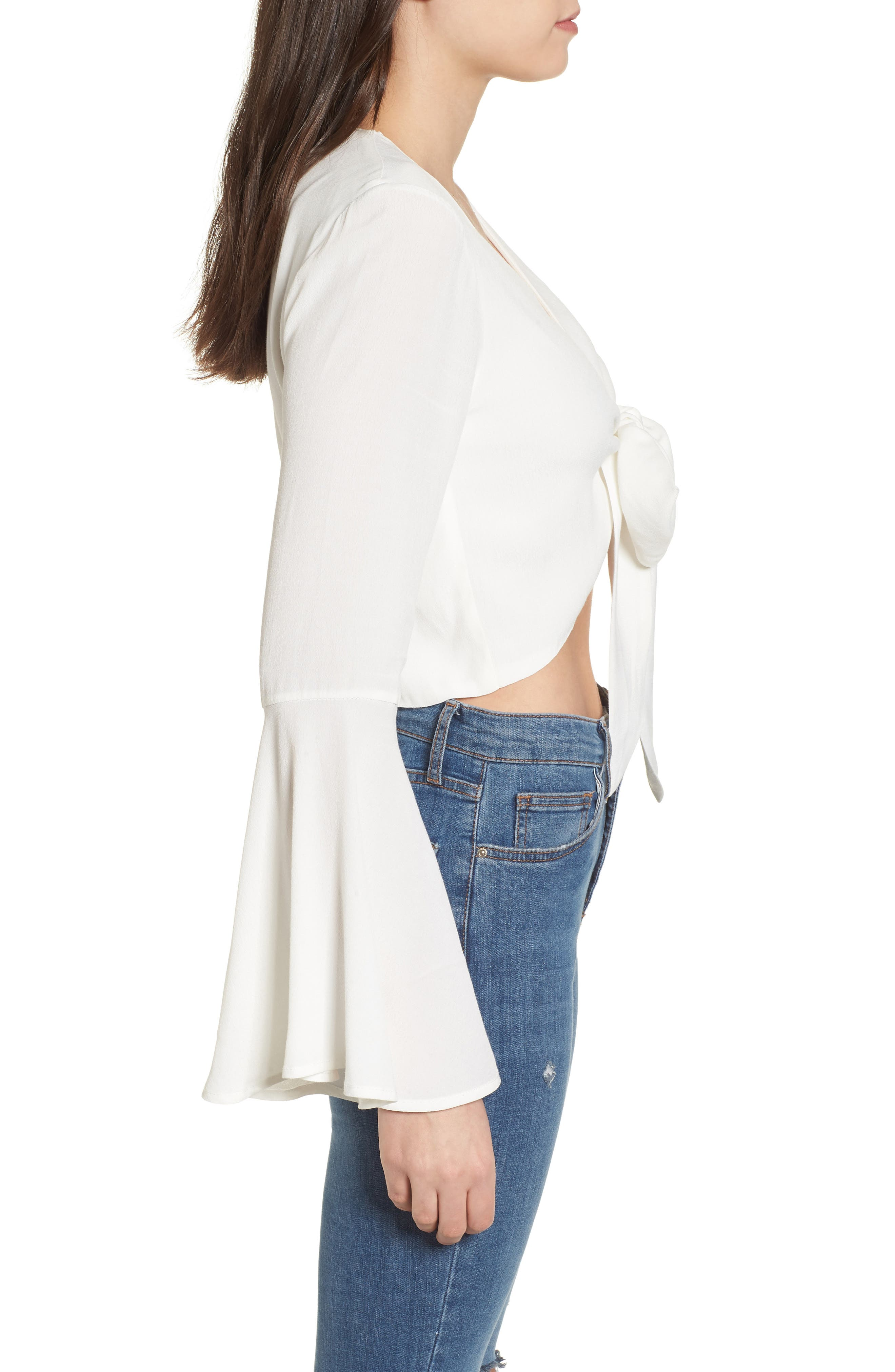 Tie Front Bell Sleeve Top,                             Alternate thumbnail 3, color,                             Ivory