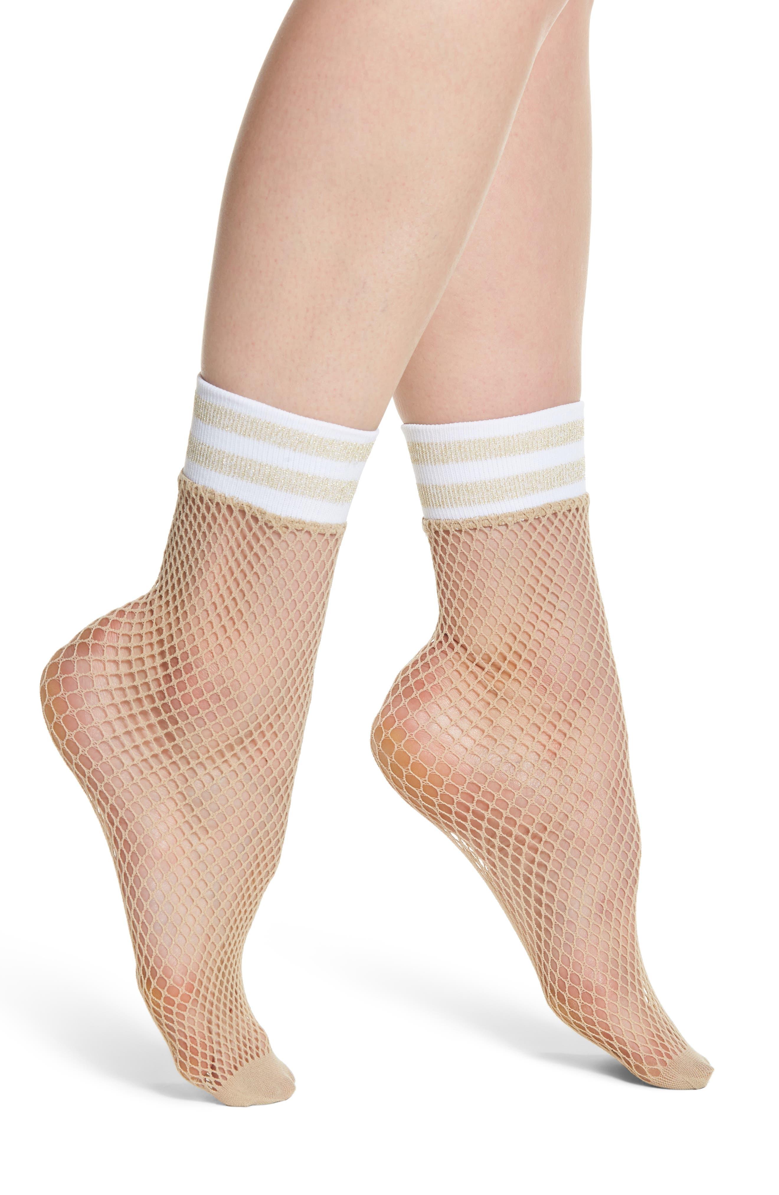 Varsity Stripe Fishnet Crew Socks,                             Main thumbnail 1, color,                             Nude