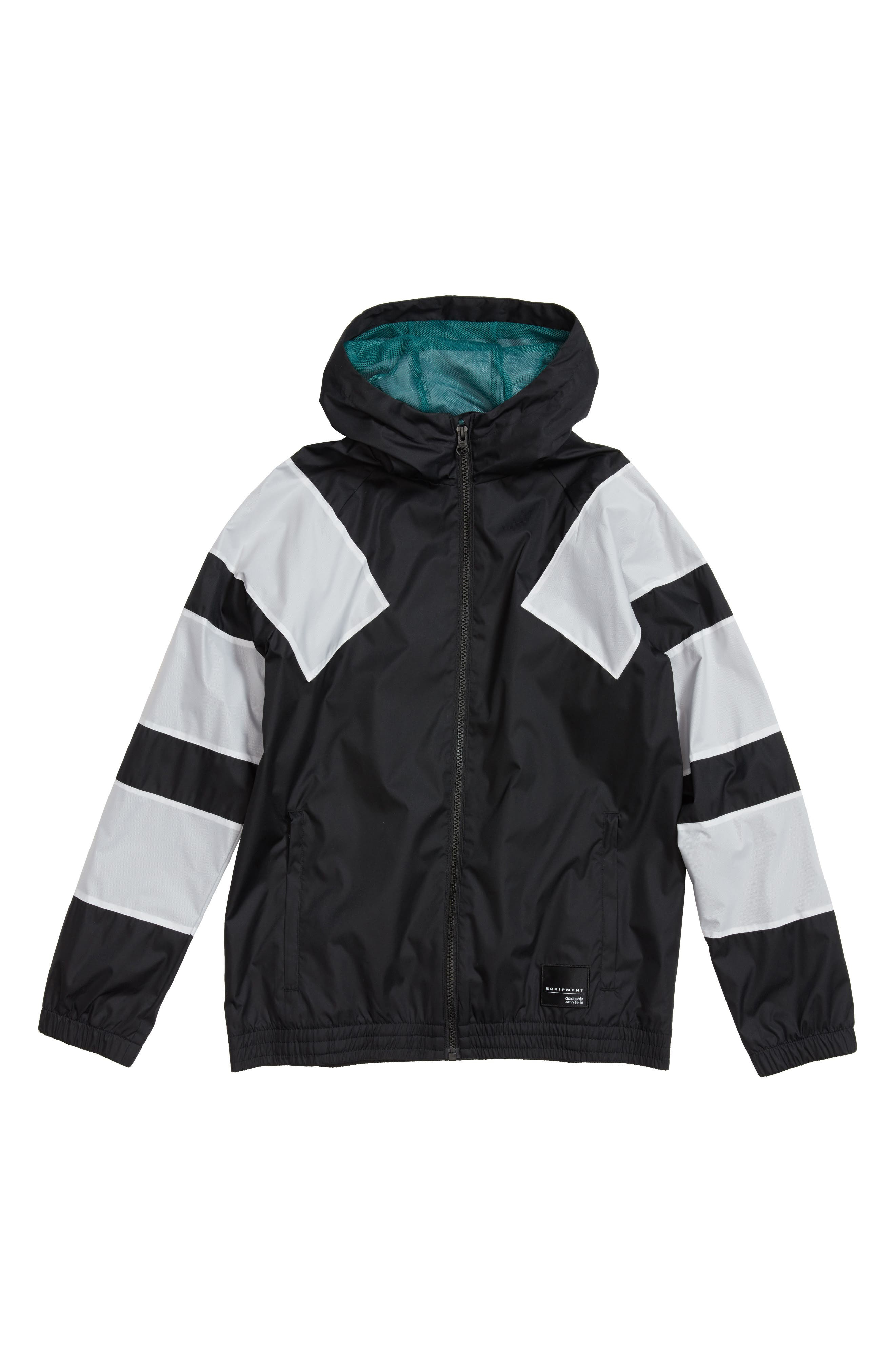 Alternate Image 1 Selected - adidas Originals EQT Hooded Windbreaker Jacket (Little Boys & Big Boys)