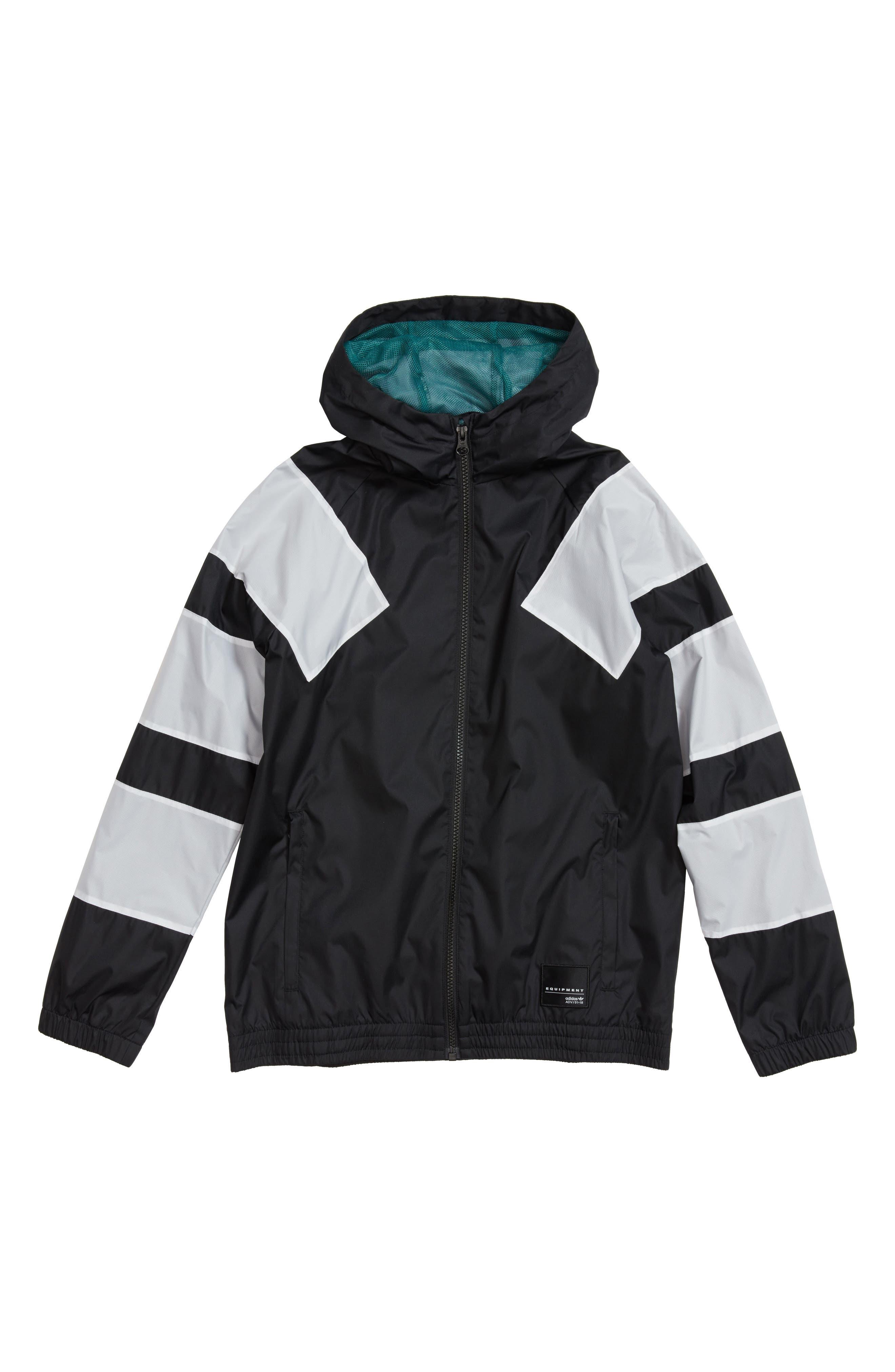 EQT Hooded Windbreaker Jacket,                         Main,                         color, Black/ White