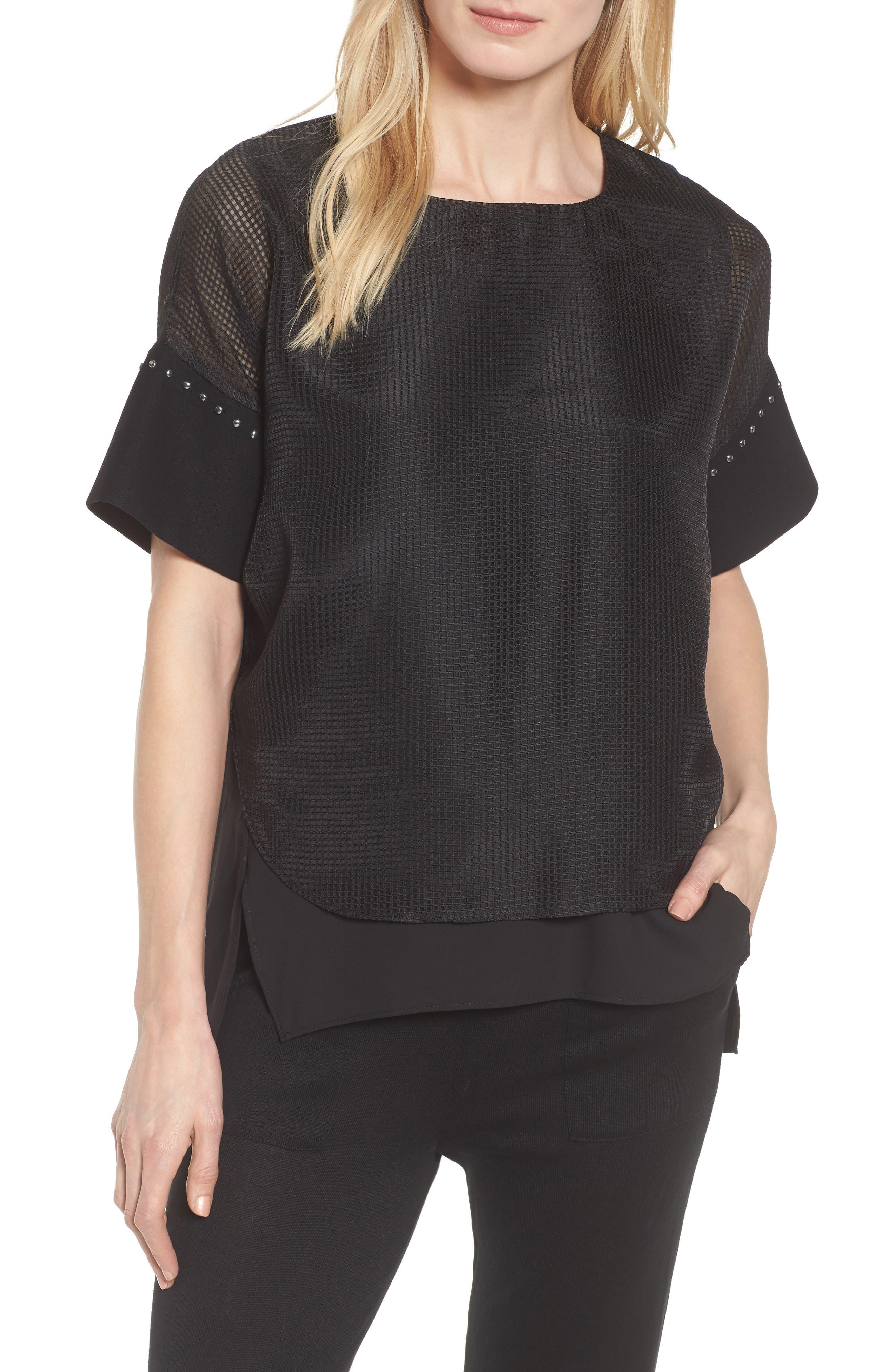 Mesh Layered Top,                         Main,                         color, Black