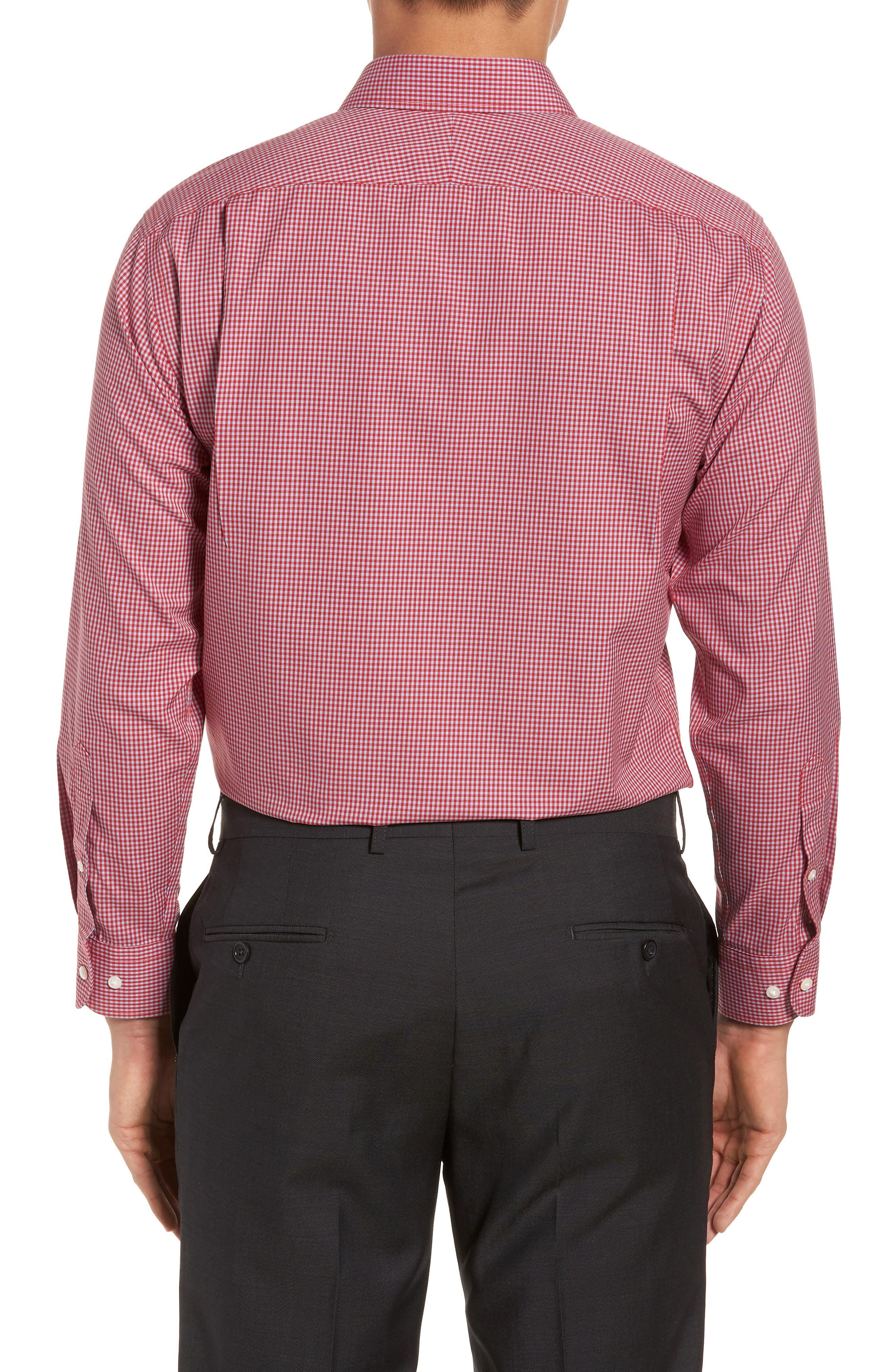 Smartcare<sup>™</sup> Trim Fit Check Dress Shirt,                             Alternate thumbnail 3, color,                             Red Barbados