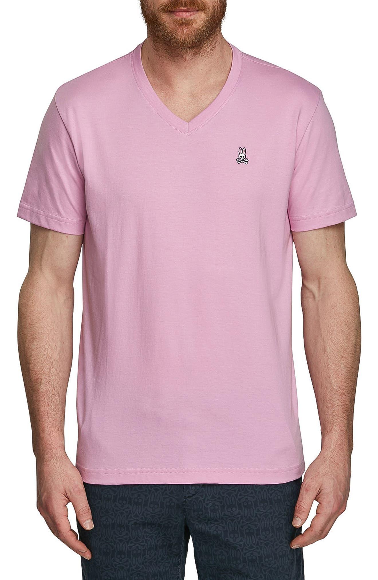 V-Neck T-Shirt,                         Main,                         color, Flamingo