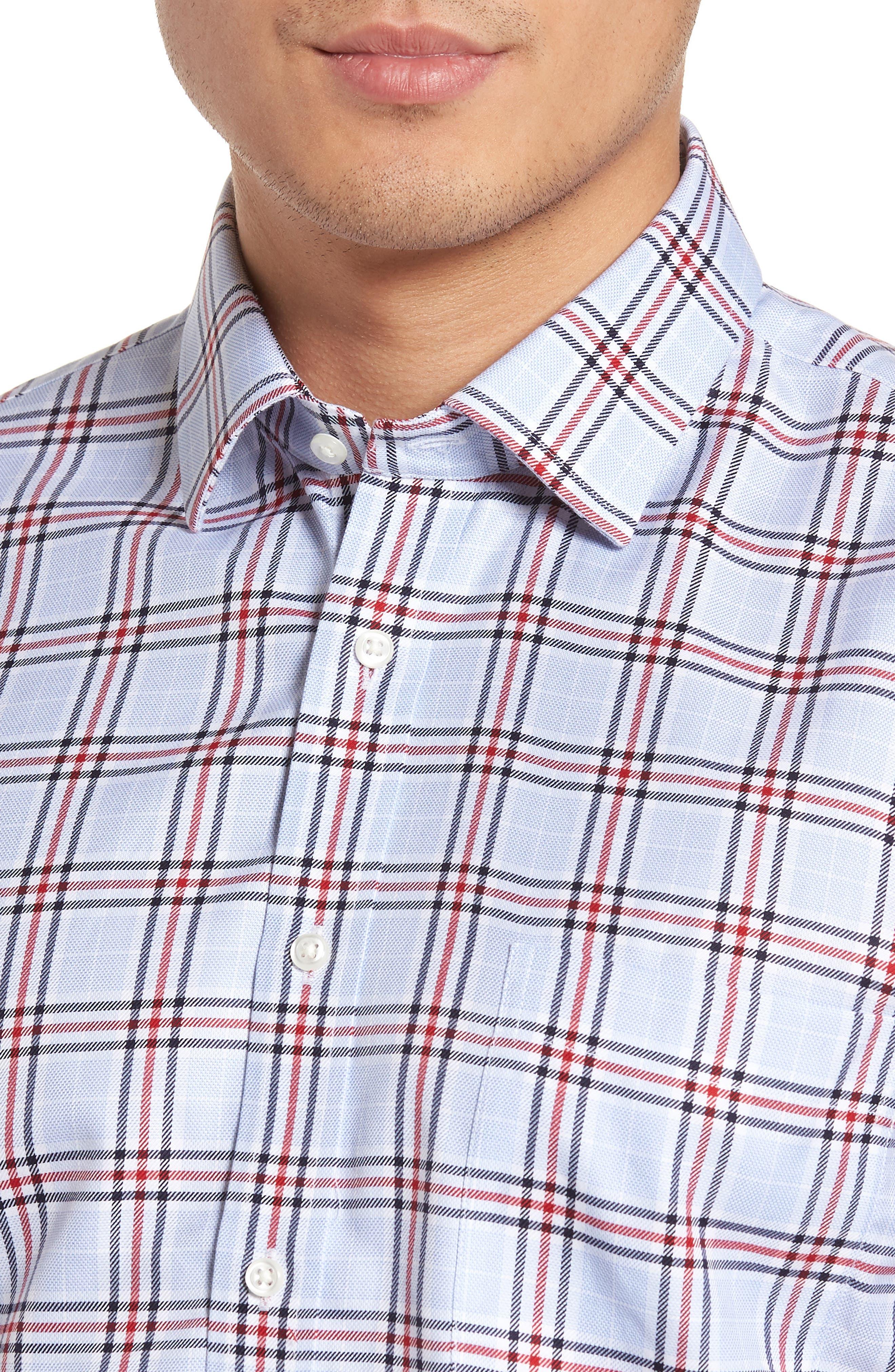 Alternate Image 4  - Nordstrom Men's Shop Smartcare™ Trim Fit Plaid Dress Shirt