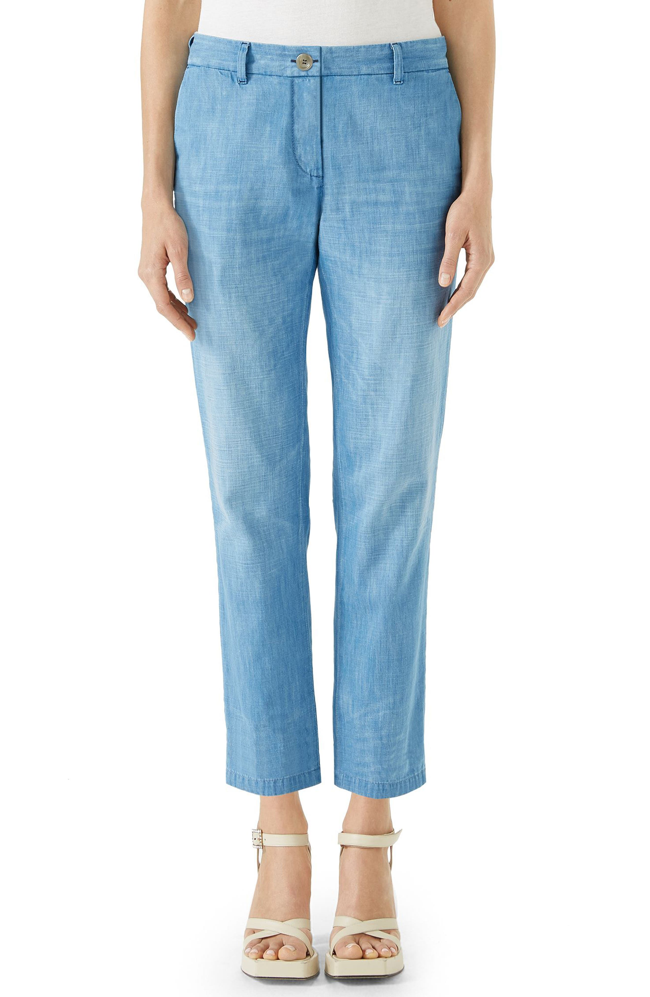 Denim Chino Pants,                             Main thumbnail 1, color,                             Light Blue/ Red