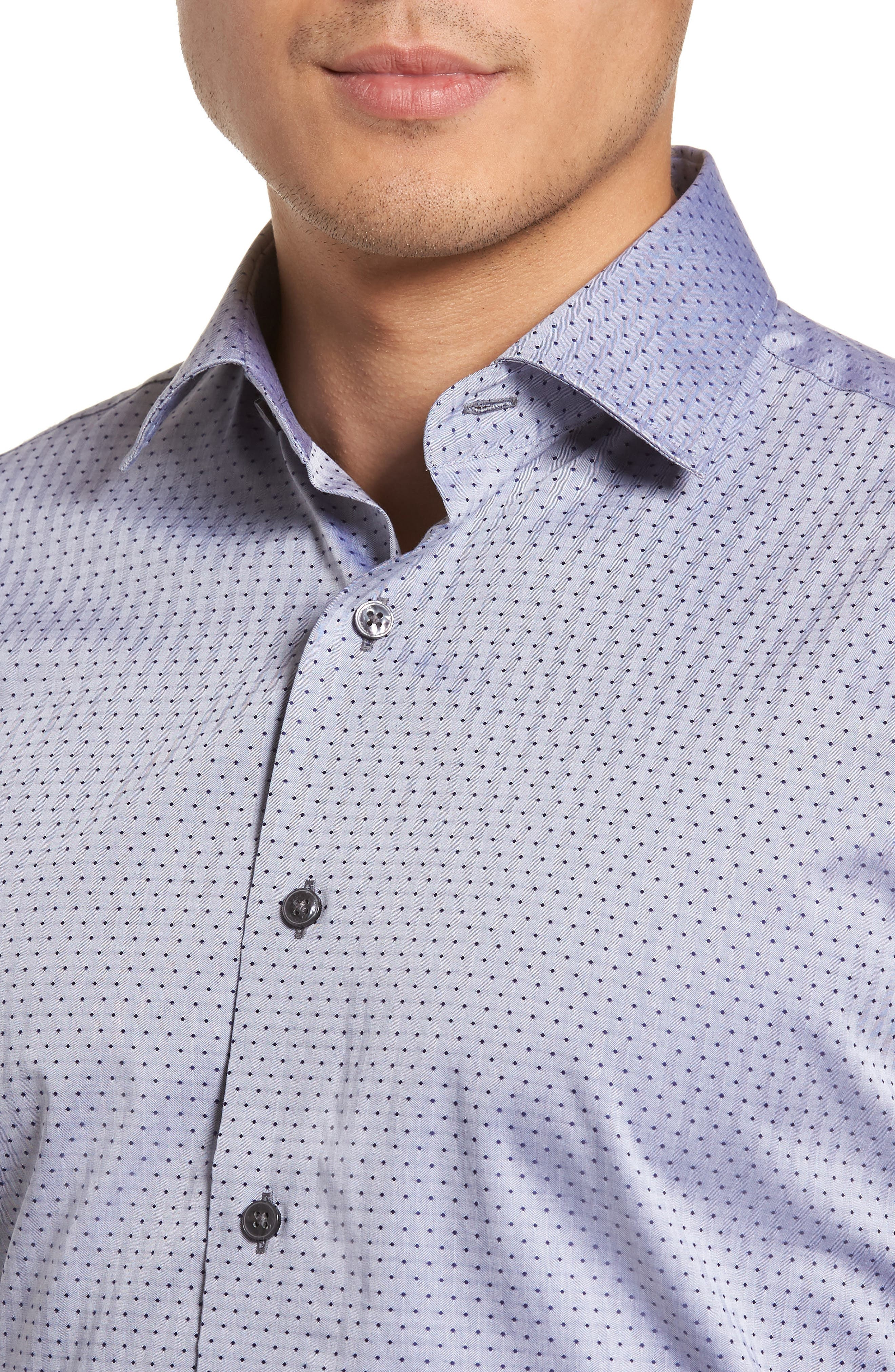 Pin Dot Dress Shirt,                             Alternate thumbnail 2, color,                             Navy/ Grey