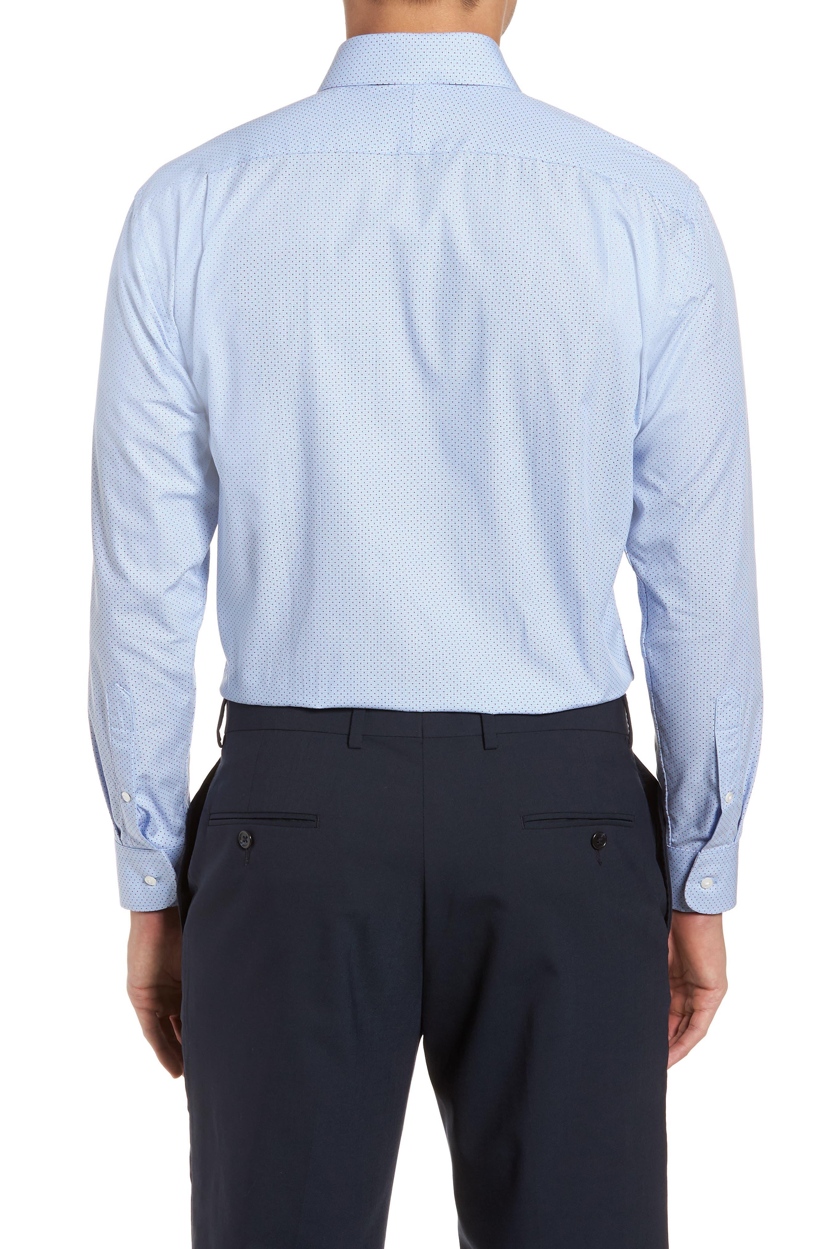 Trim Fit Print Dress Shirt,                             Alternate thumbnail 3, color,                             Blue Provence