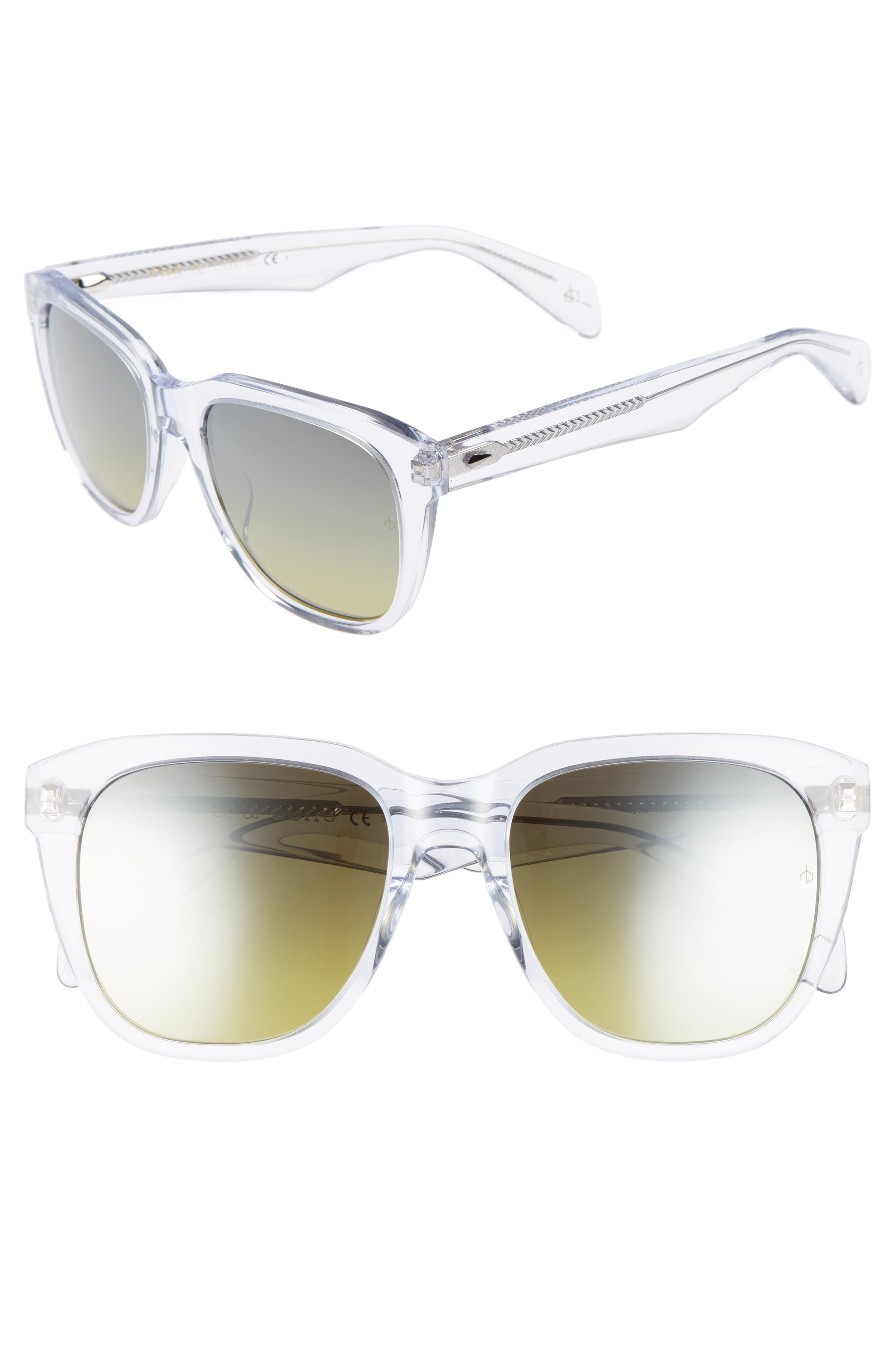 49MM RECTANGLE SUNGLASSES - CRYSTAL