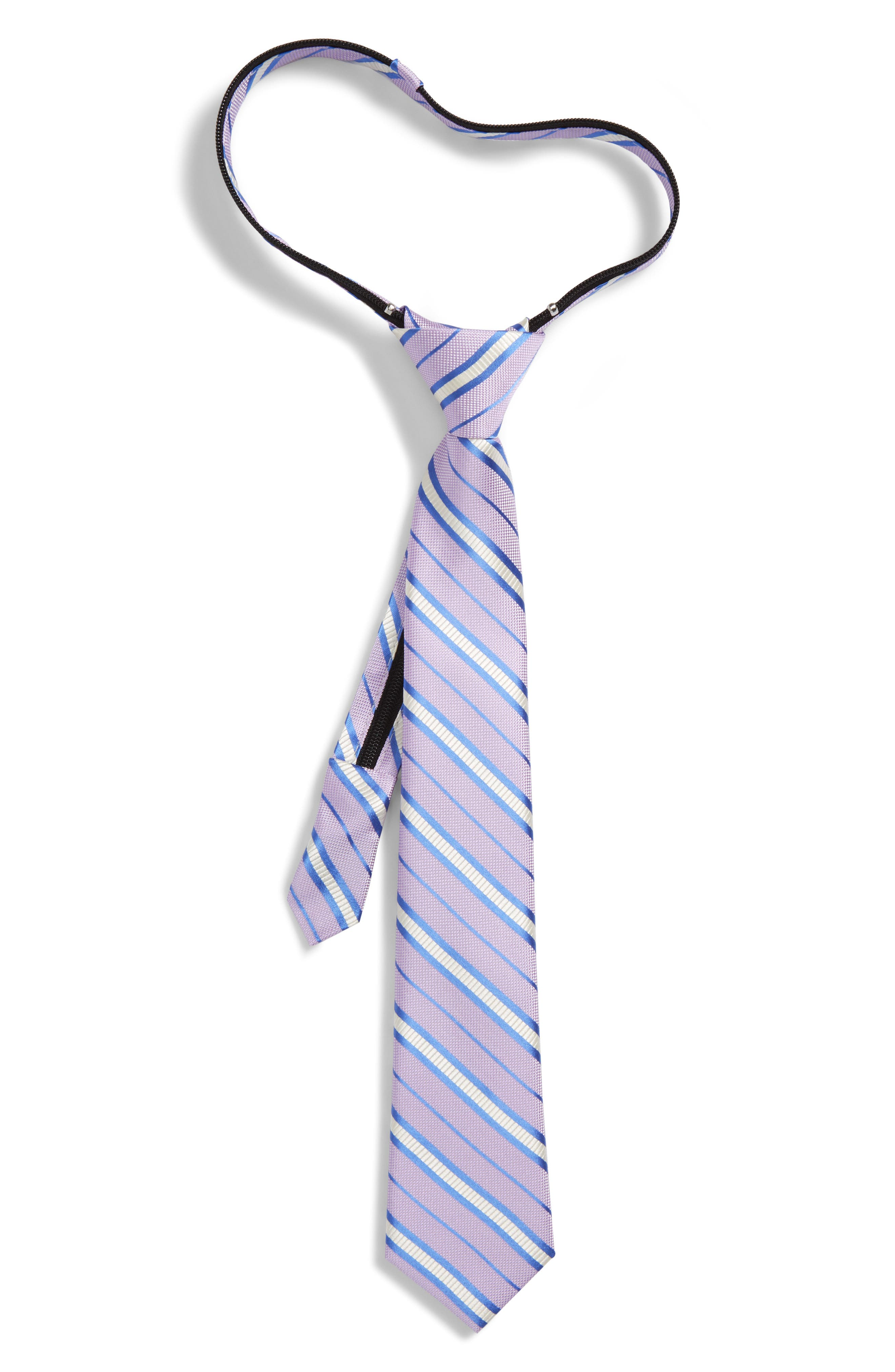 Nordstrom Candy Stripe Silk Zip Tie (Big Boys)