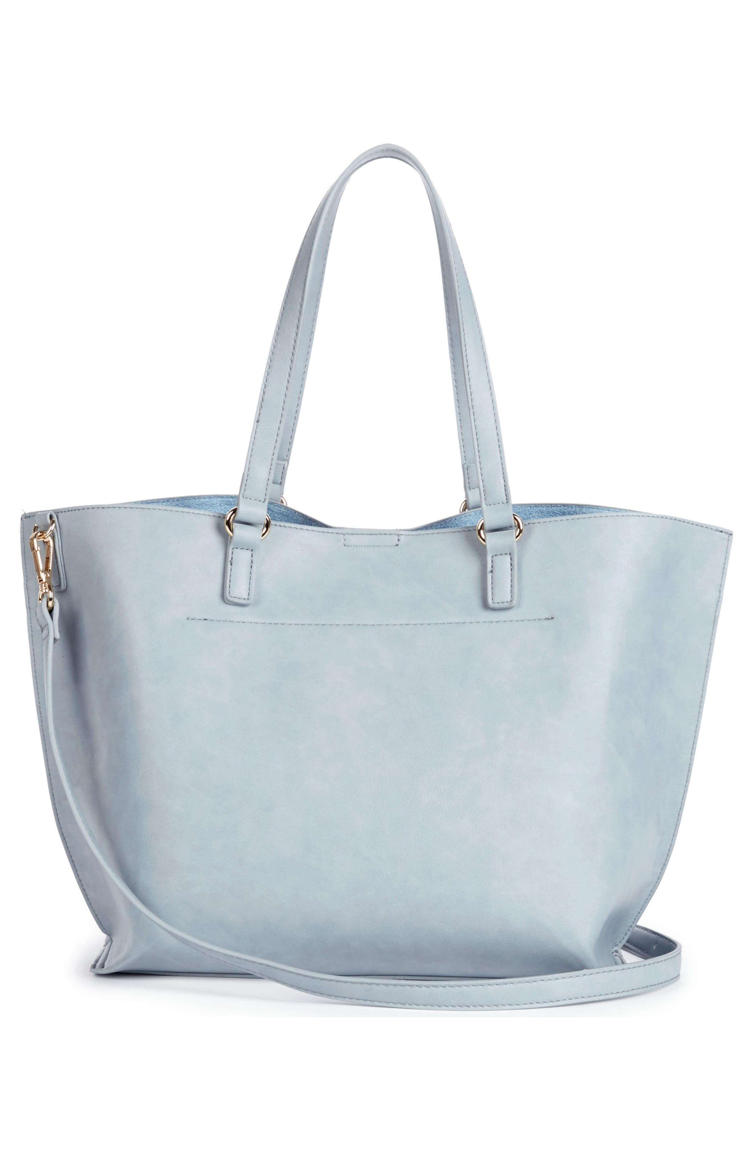 Adelina Ruffled Faux Leather Tote,                             Alternate thumbnail 3, color,                             Powder Blue
