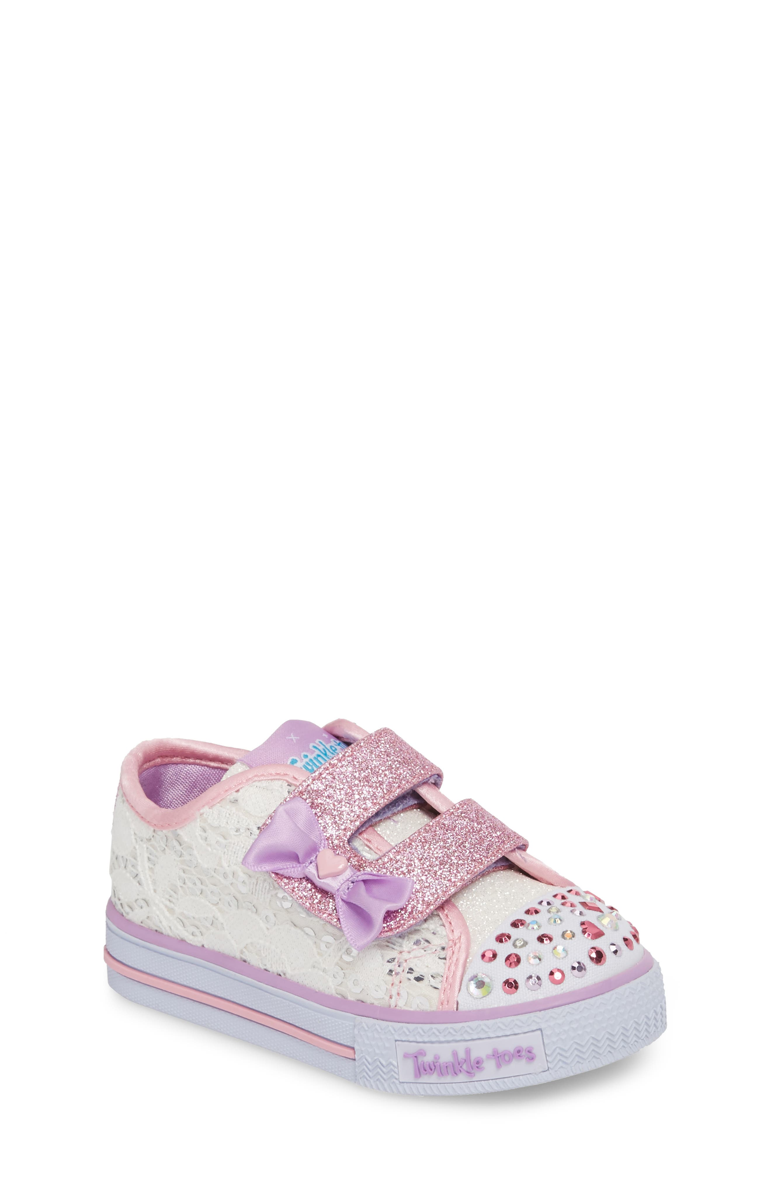 Twinkle Toes Shuffles Light-Up Glitter Sneaker,                         Main,                         color, White/ Silver/ Light Pink