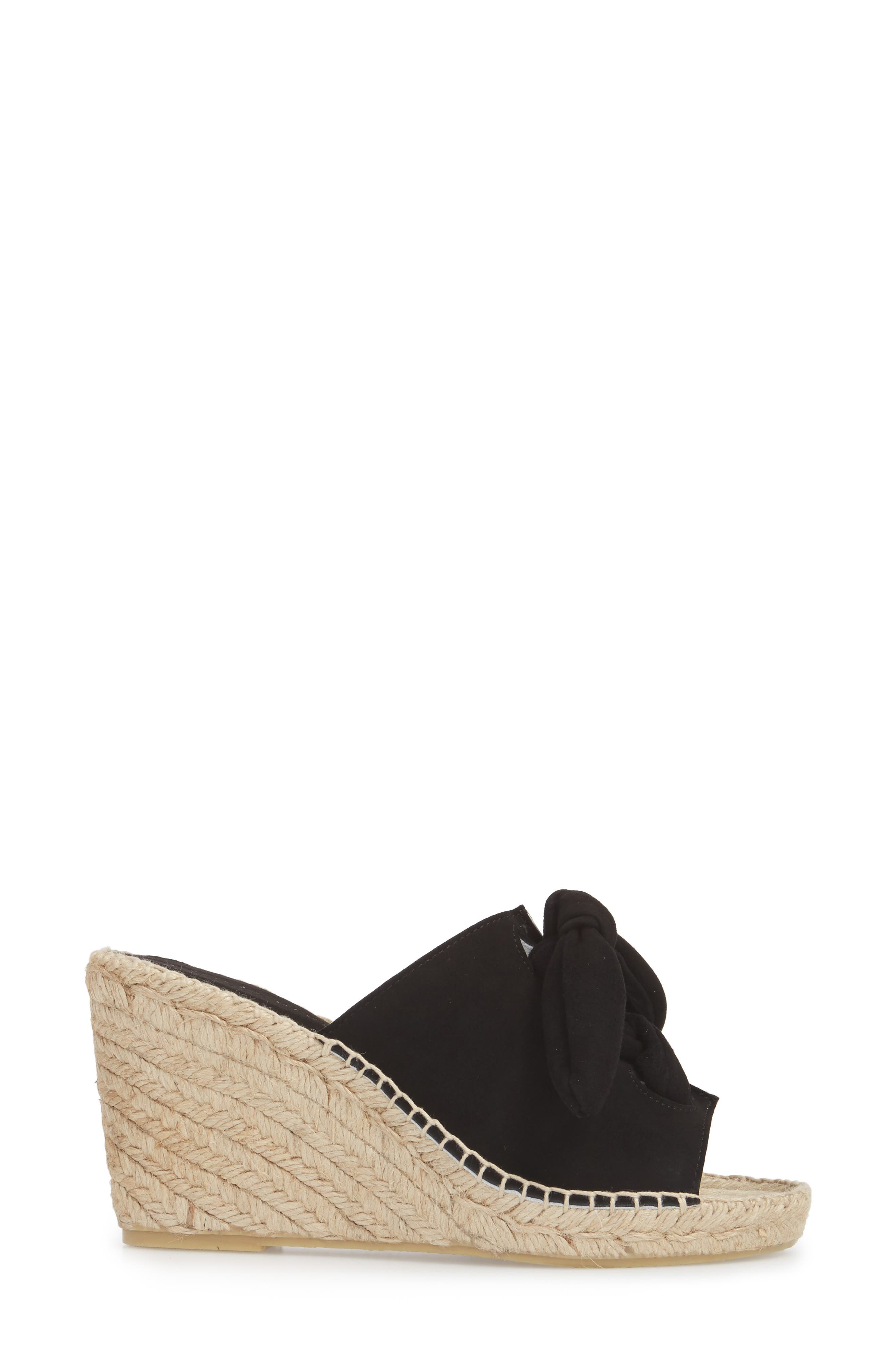Flirt Espadrille Wedge Sandal,                             Alternate thumbnail 3, color,                             Black Suede