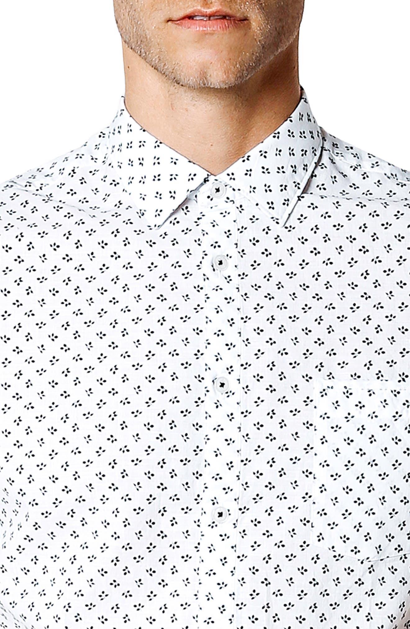 Trim Fit Print Sport Shirt,                             Alternate thumbnail 4, color,                             White