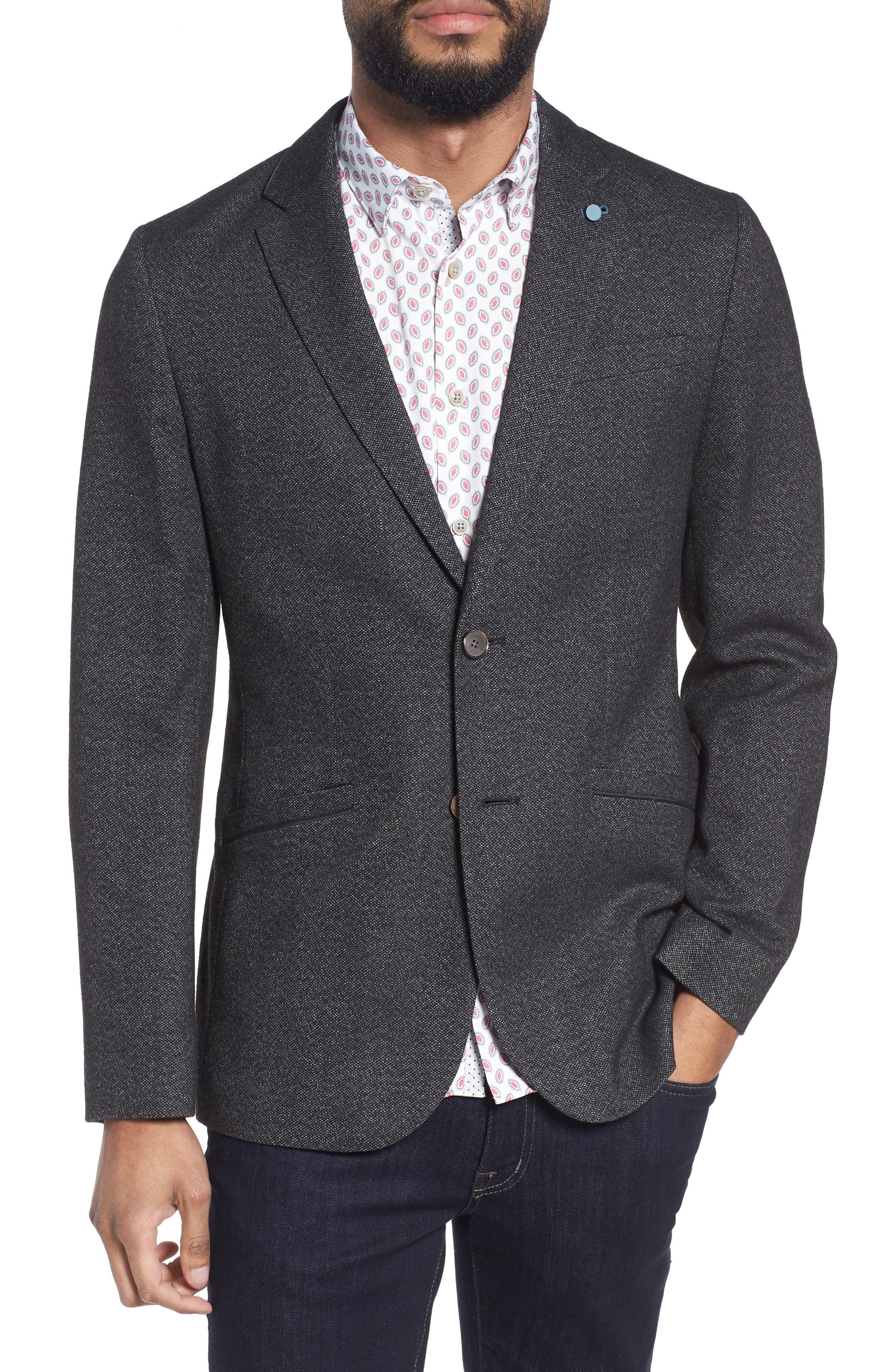 Beektt Semi Plain Trim Fit Jacket,                             Main thumbnail 1, color,                             Charcoal