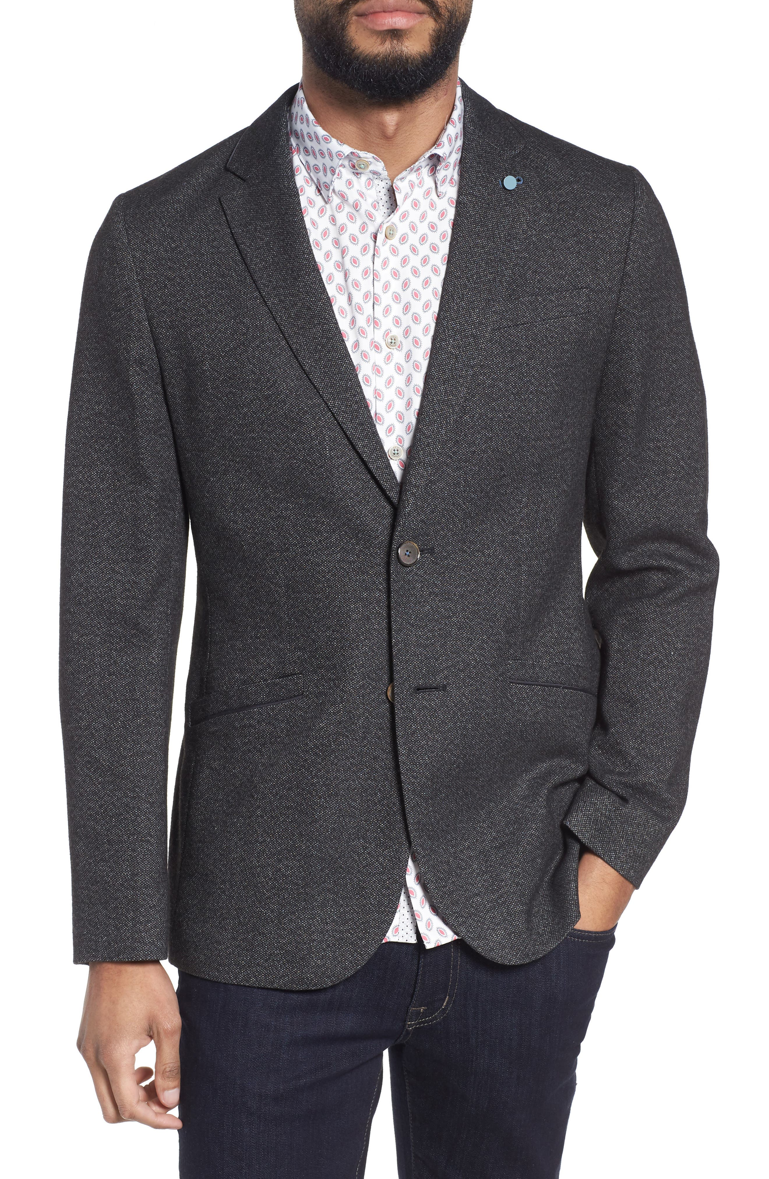 Beektt Semi Plain Trim Fit Jacket,                         Main,                         color, Charcoal
