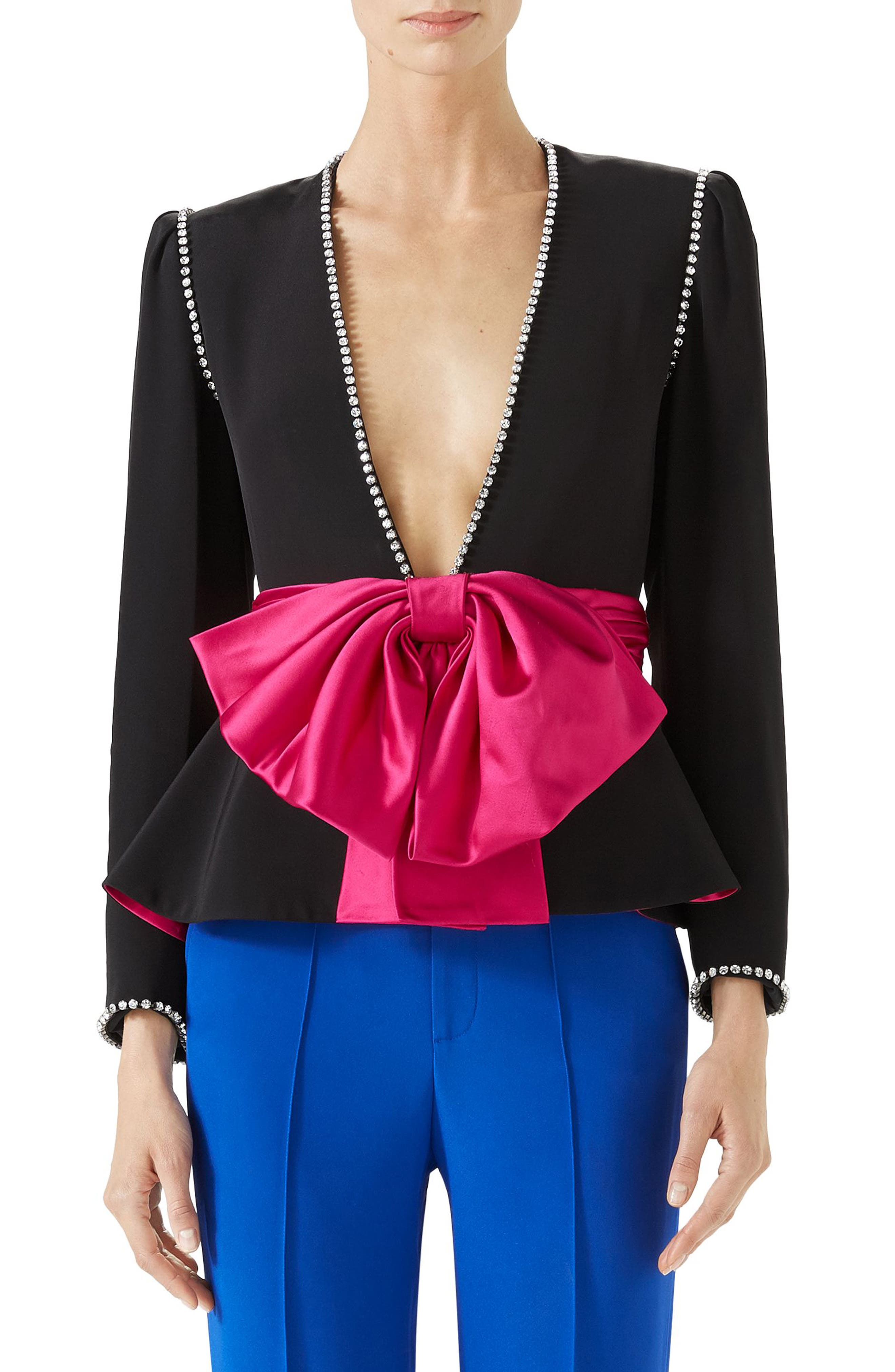 Bow Detail Marocain Jacket,                             Main thumbnail 1, color,                             Black/ Raspberry Juice
