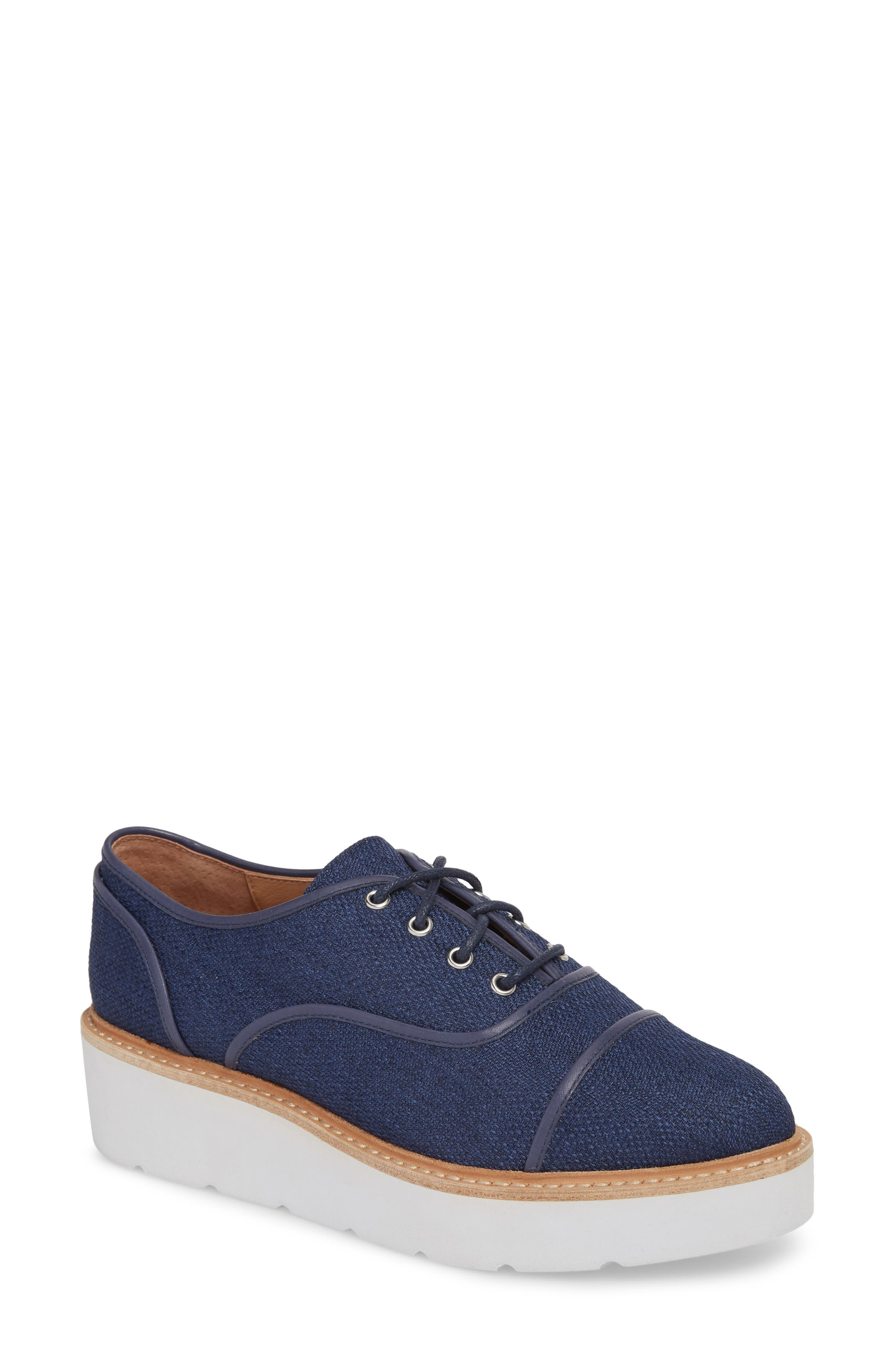 Mavis Cap Toe Platform Sneaker,                         Main,                         color, Blue Fabric