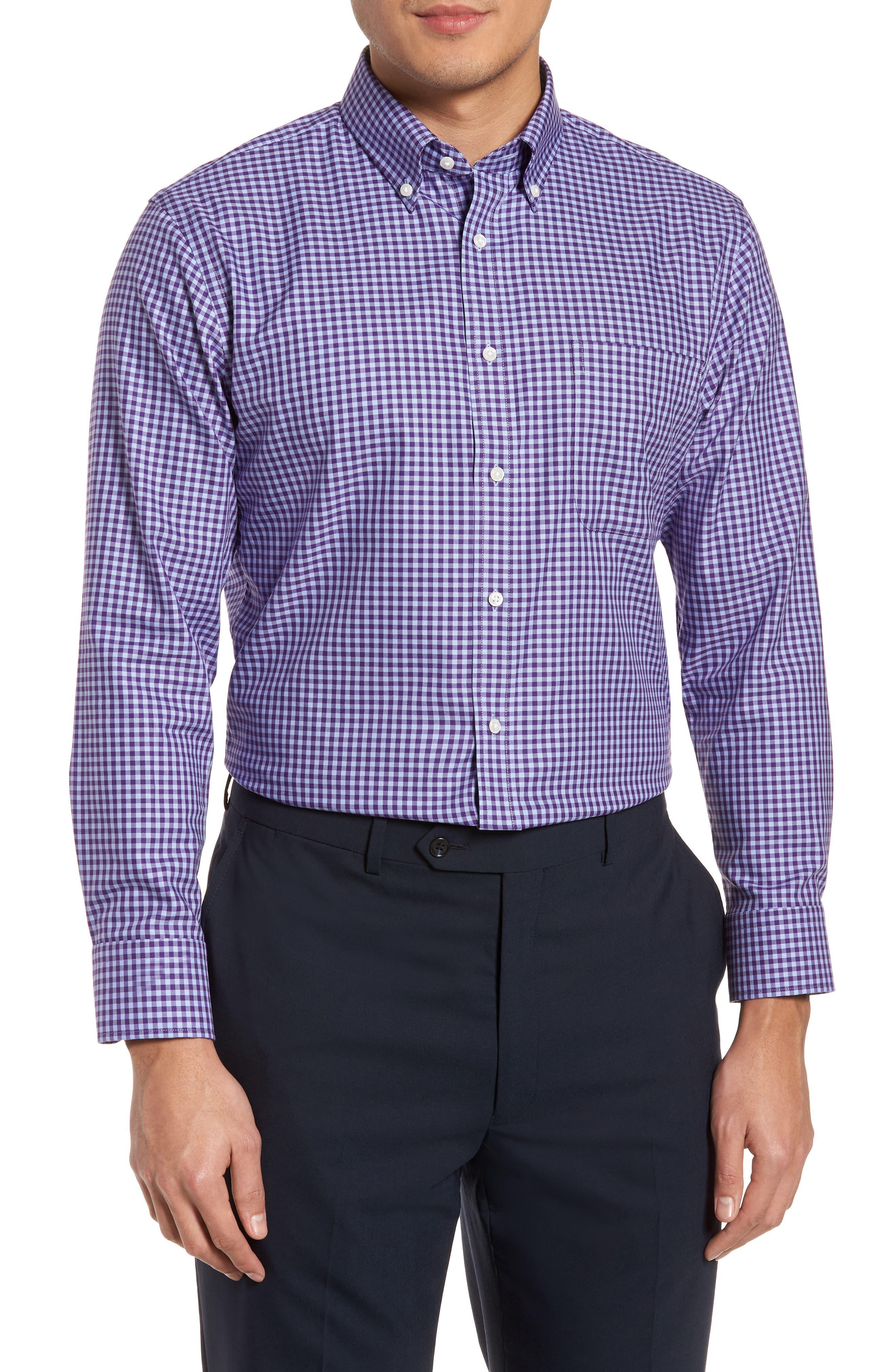 Alternate Image 1 Selected - Nordstrom Men's Shop Trim Fit Non-Iron Gingham Dress Shirt
