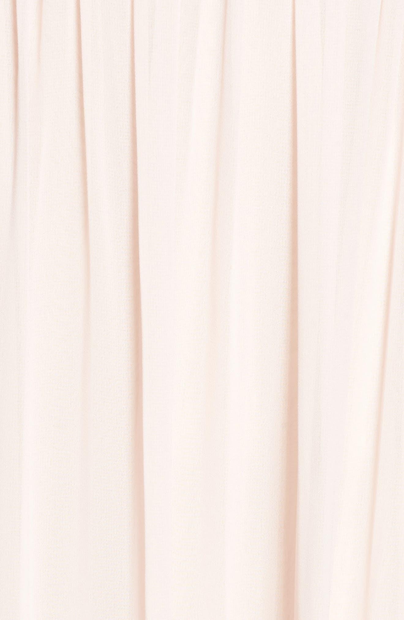 Ruffle Detail A-Line Chiffon Gown,                             Alternate thumbnail 5, color,                             Blush Cashmere